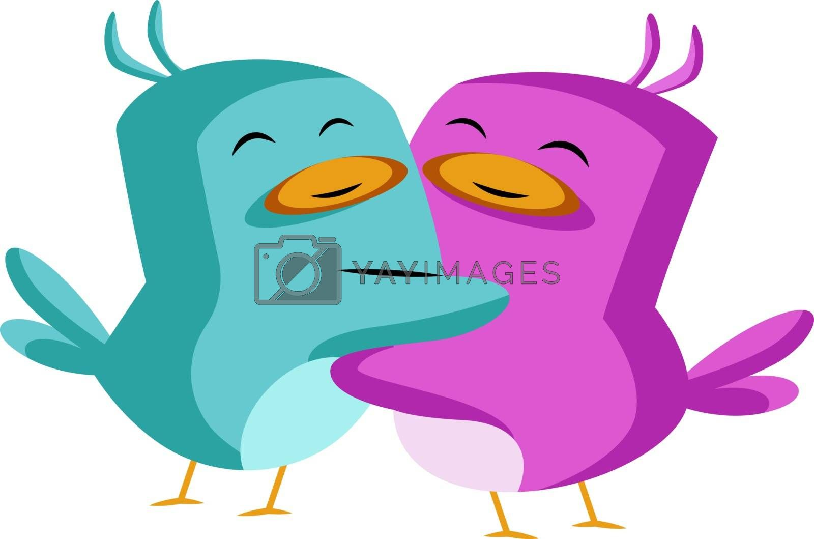 Royalty free image of Blue and purple bird in love illustration vector on white backgr by Morphart