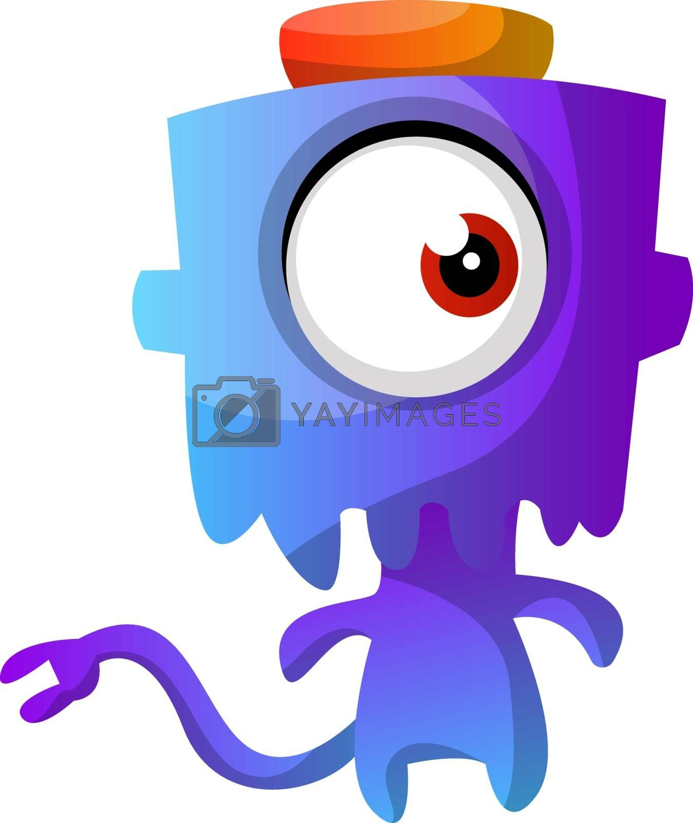 Royalty free image of Blue monster with a hat illustration vector on white background by Morphart