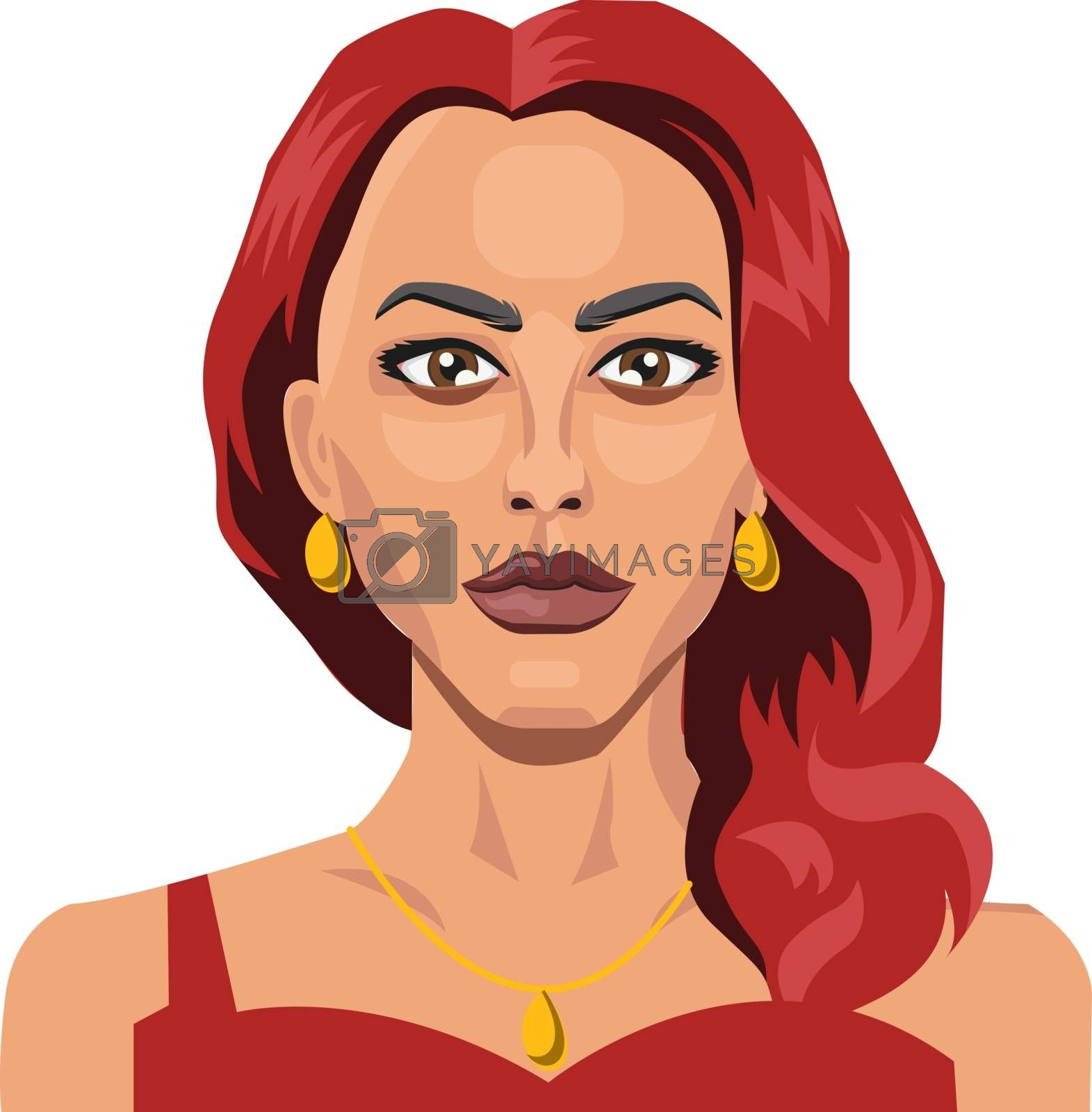 Royalty free image of Beautiful girl with red hair illustration vector on white backgr by Morphart