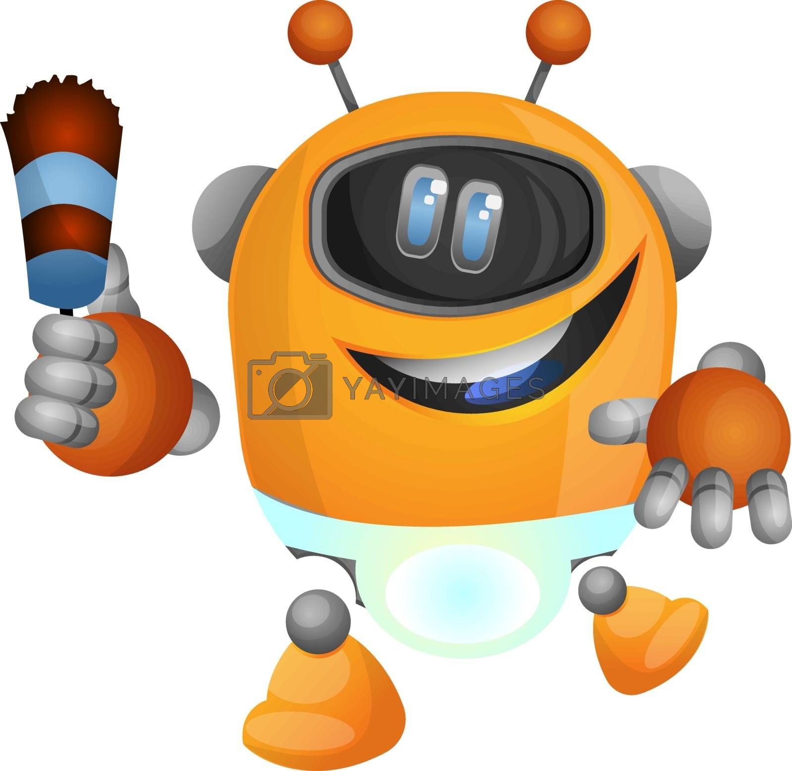 Royalty free image of Housekeeping robot illustration vector on white background by Morphart