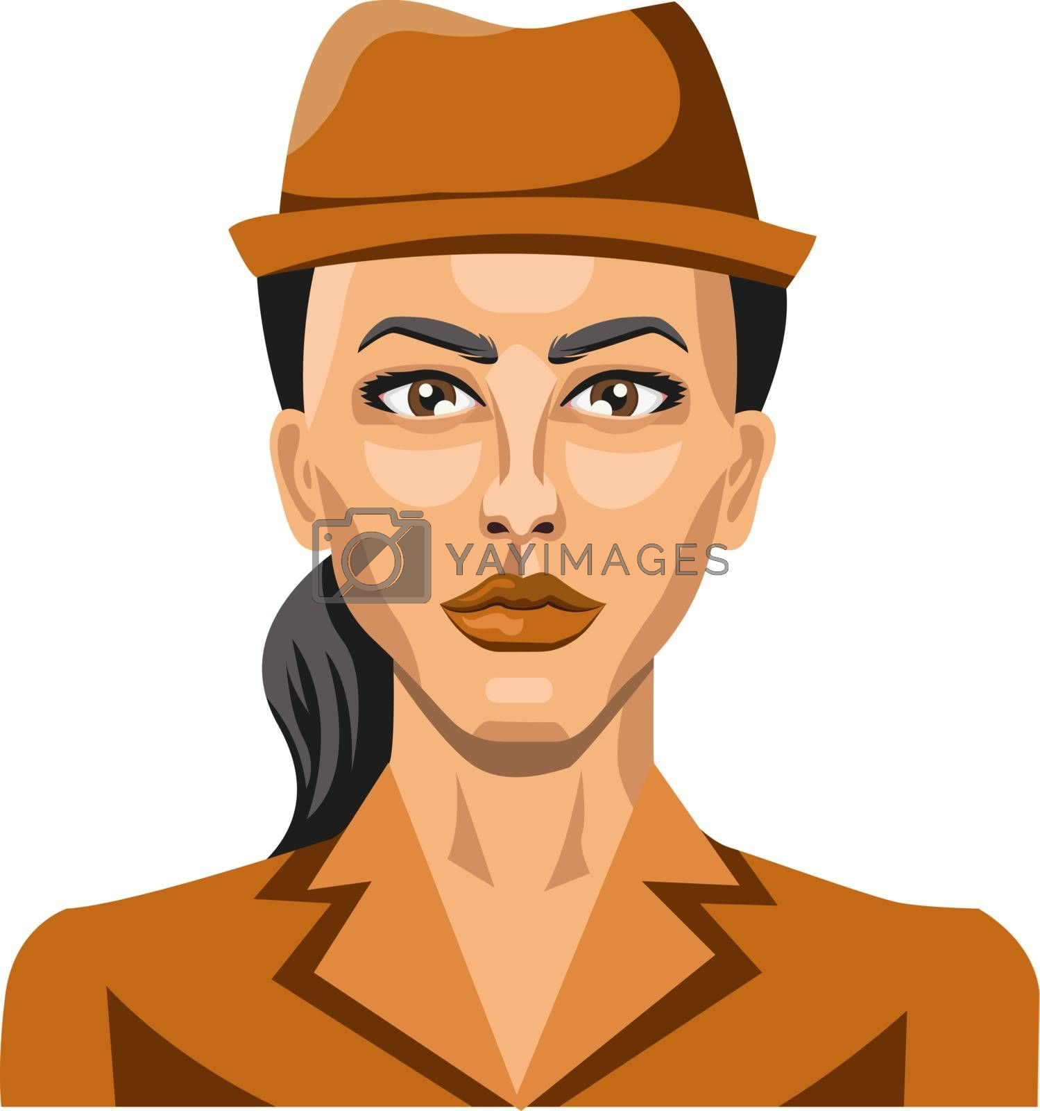 Royalty free image of Girl with brown hat and pony tail illustration vector on white b by Morphart
