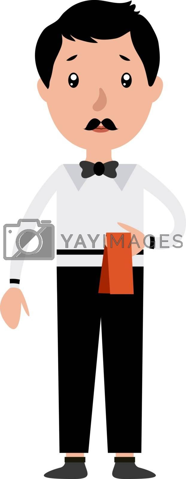 Royalty free image of Cartoon serious waiter illustration vector on white background by Morphart