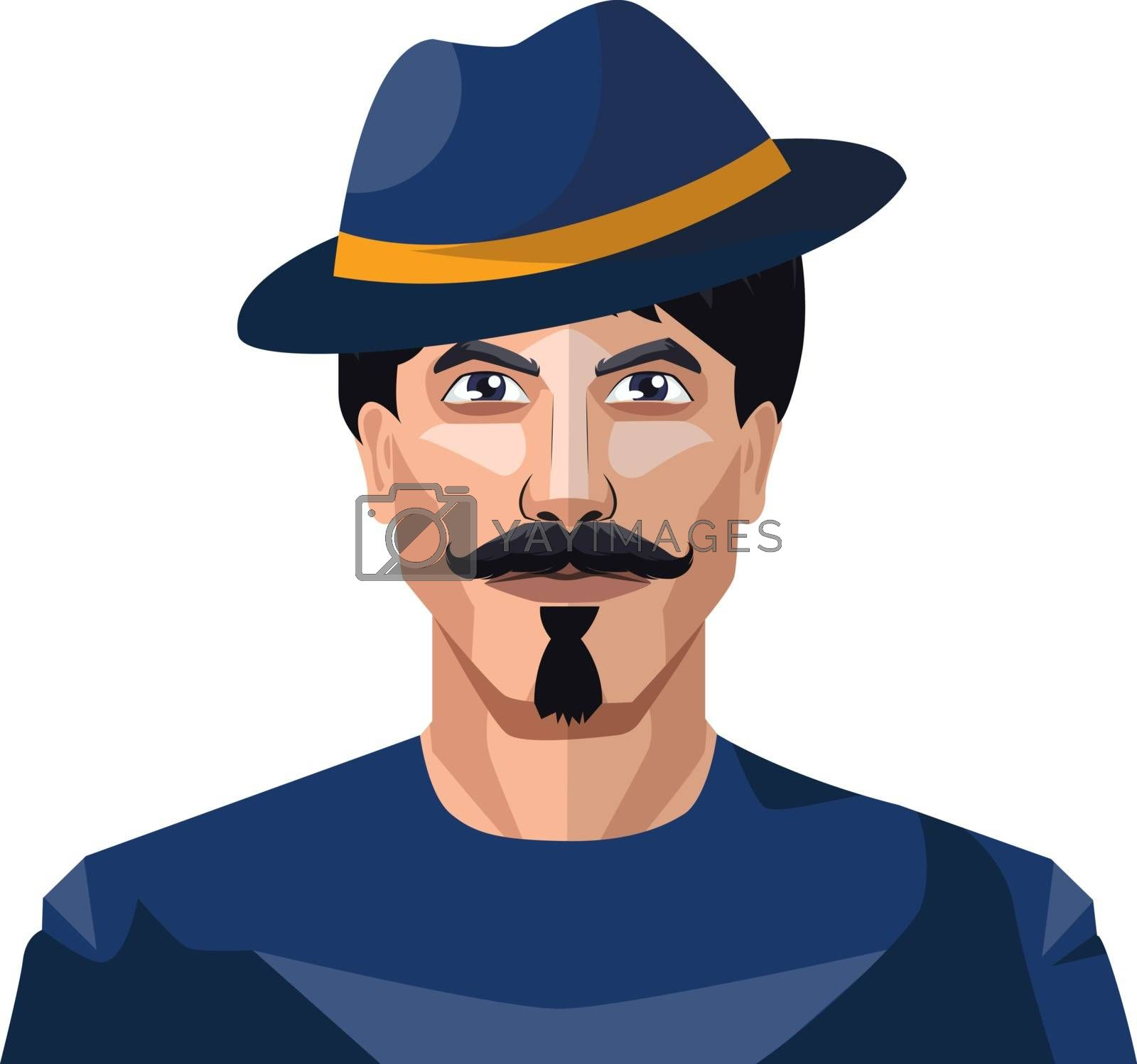 Royalty free image of Guy wearing a blue hat and shirt illustration vector on white ba by Morphart