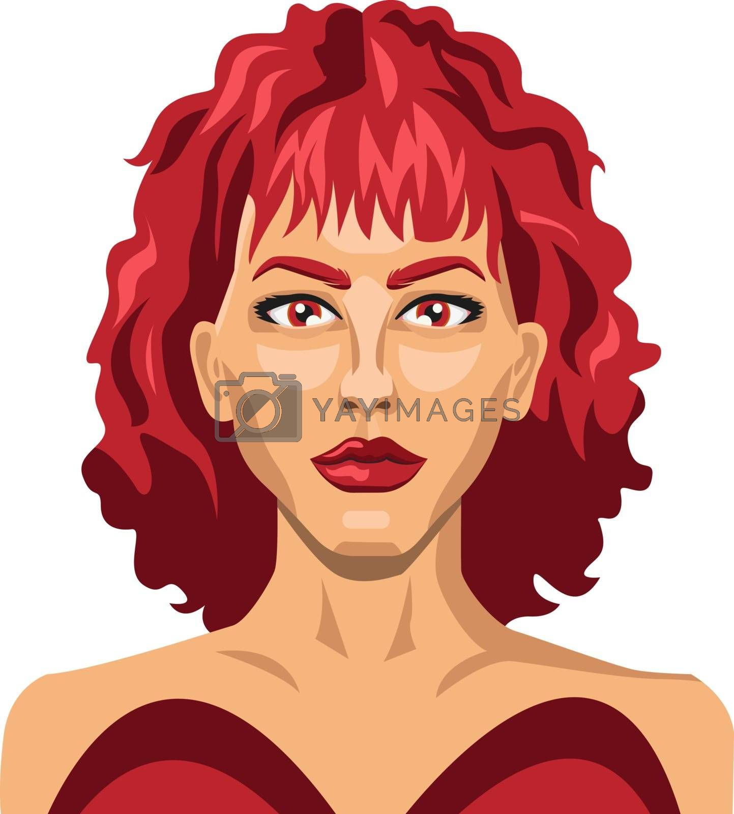 Royalty free image of Sexy girl with red hair illustration vector on white background by Morphart