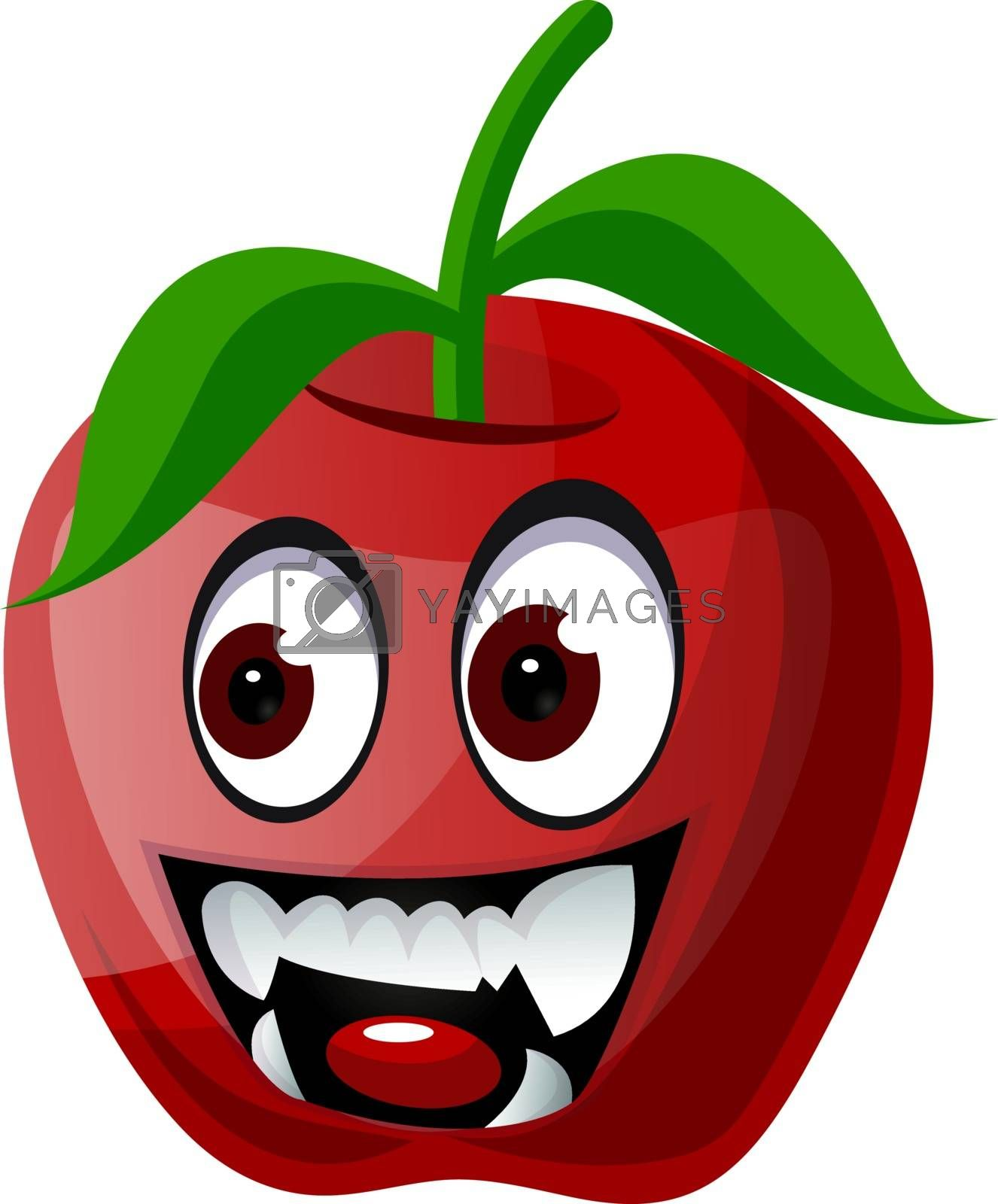 Royalty free image of Red apple with vampire teeth illustration vector on white backgr by Morphart