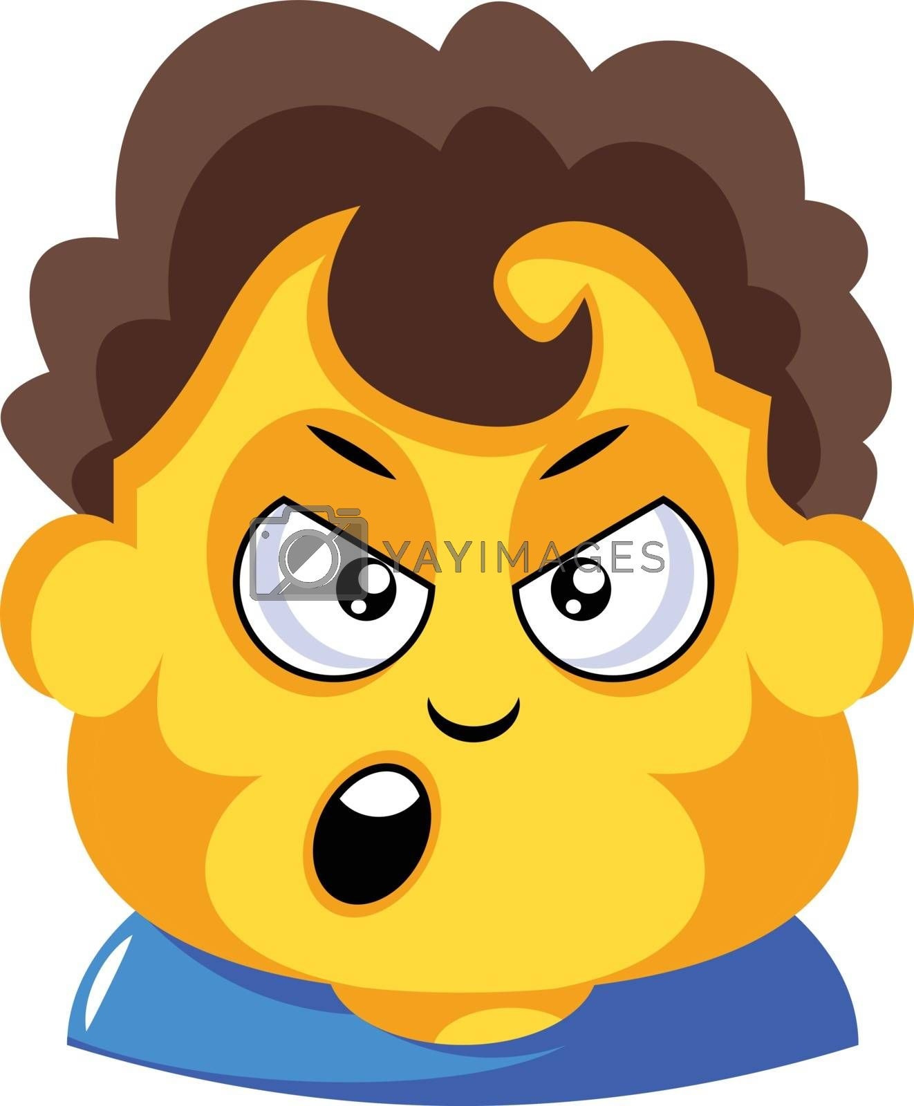 Royalty free image of Student with curly brown hair is cranky illustration vector on w by Morphart