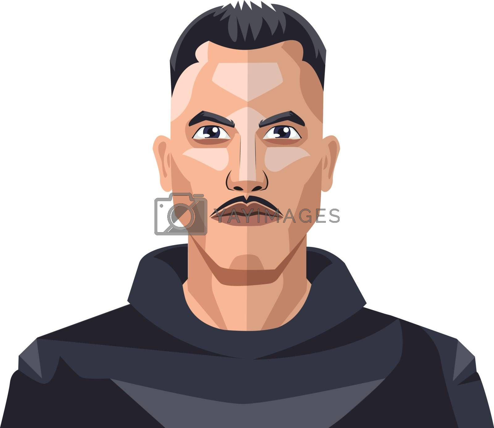 Royalty free image of Boy with moustaches and short hair illustration vector on white  by Morphart