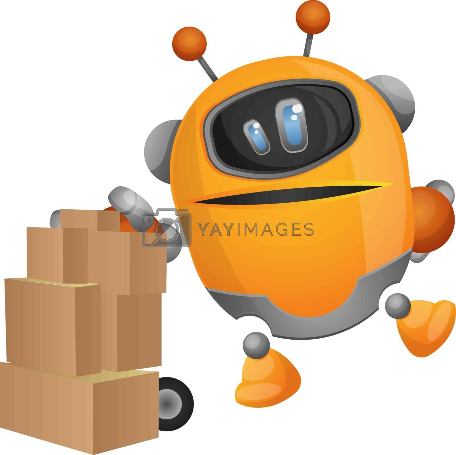 Royalty free image of Robot carrying packages illustration vector on white background by Morphart