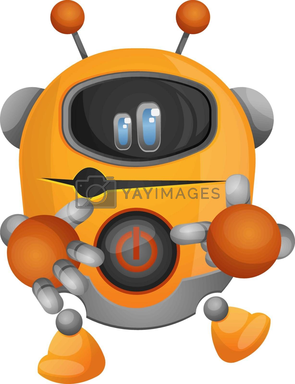Royalty free image of Yellow robot showing his power button illustration vector on whi by Morphart