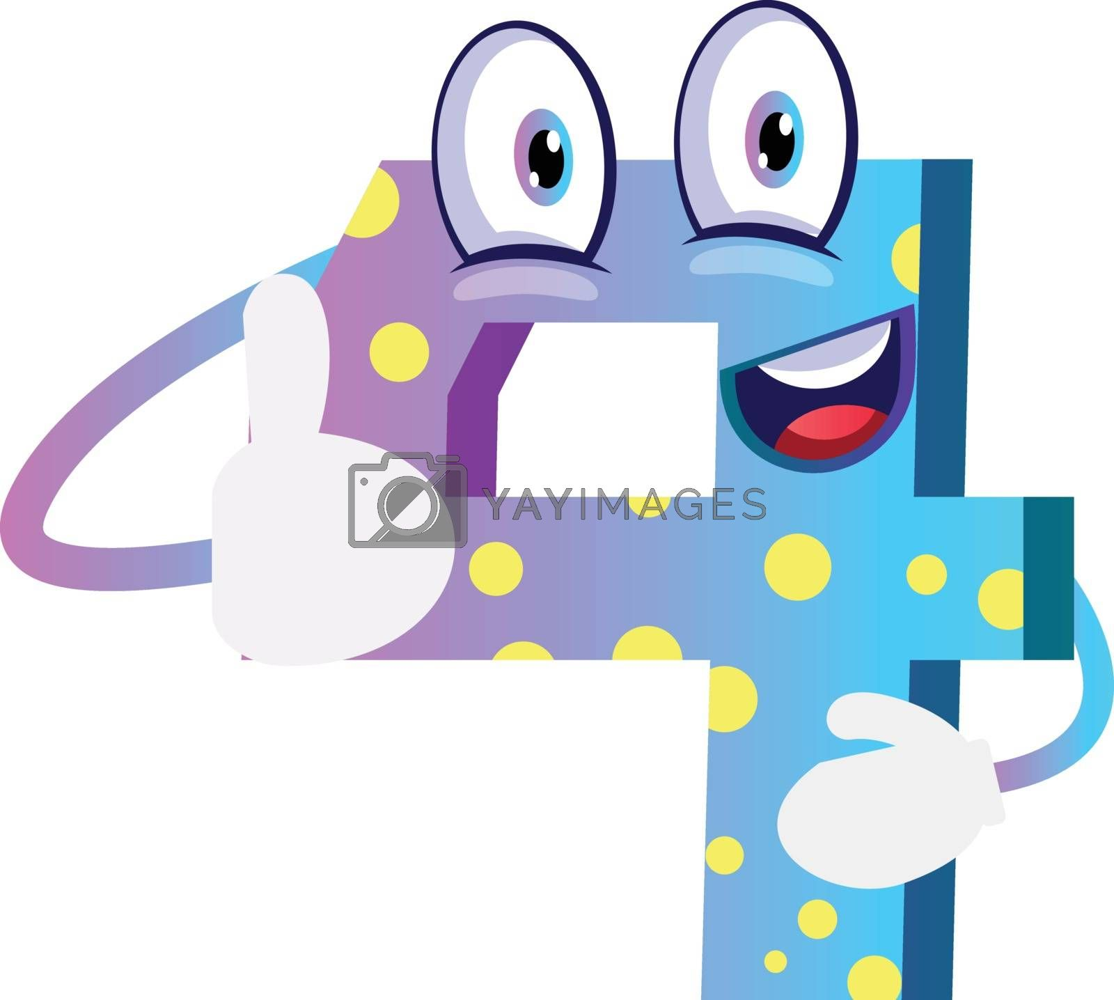 Royalty free image of Blue monster number four shape thumb up illustration vector on w by Morphart