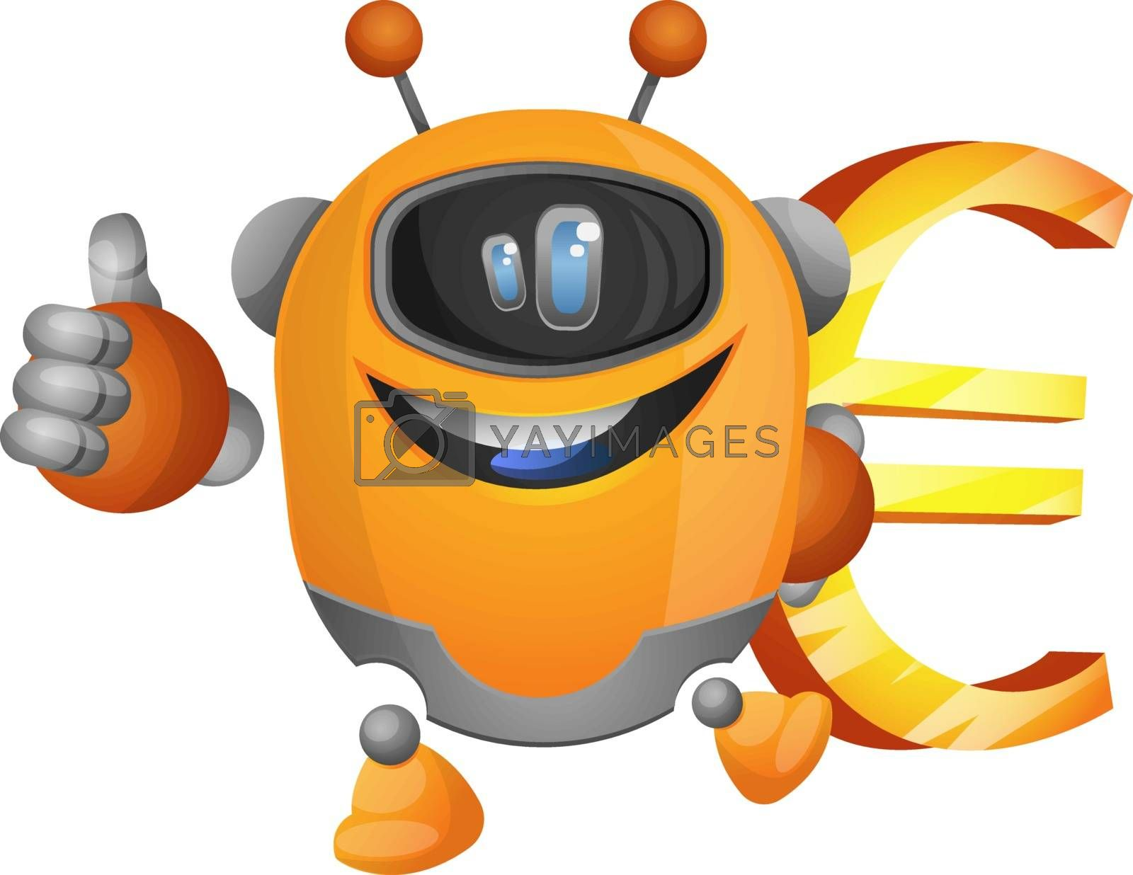 Royalty free image of Cartoon robot holding a euro sign illustration vector on white b by Morphart