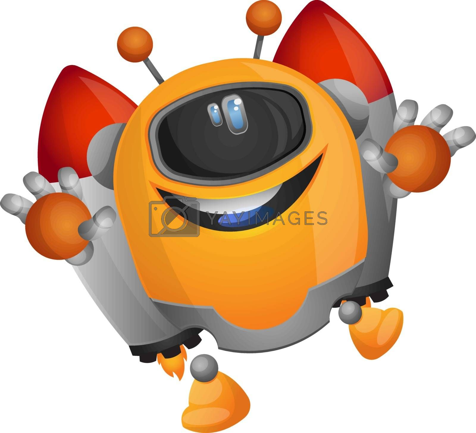 Royalty free image of Cartoon robot on a rocket propulsion illustration vector on whit by Morphart