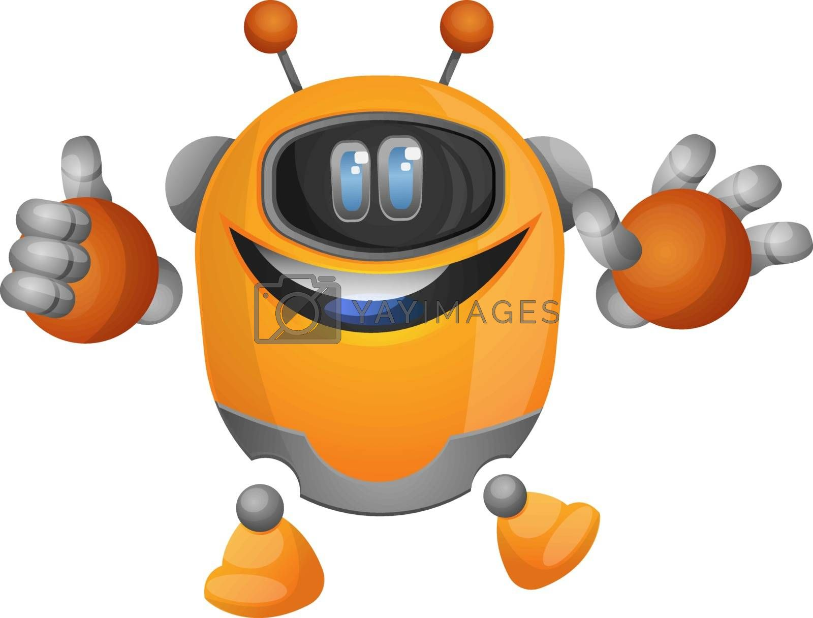 Royalty free image of Orange cartoon robot with tumb up illustration vector on white b by Morphart
