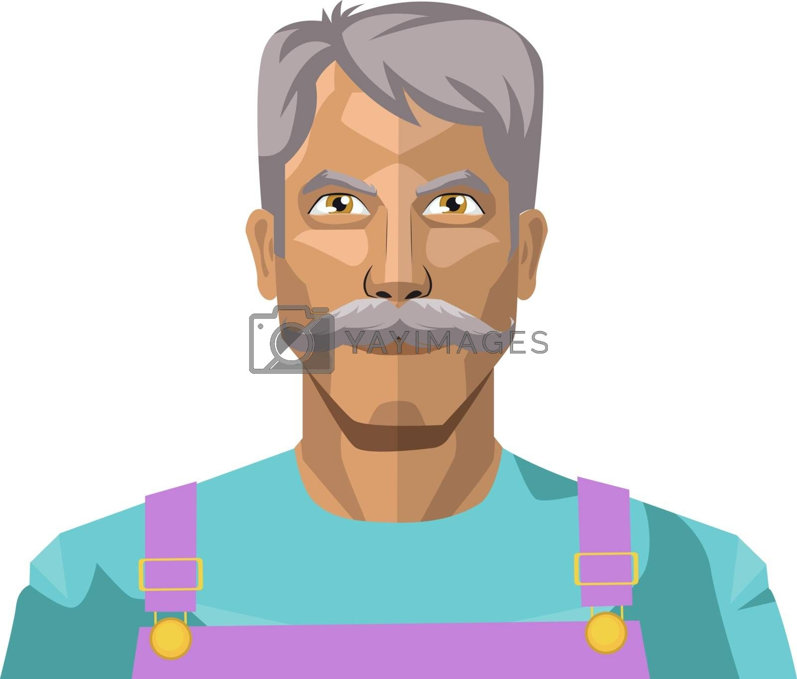Royalty free image of Older man with moustaches illustration vector on white backgroun by Morphart