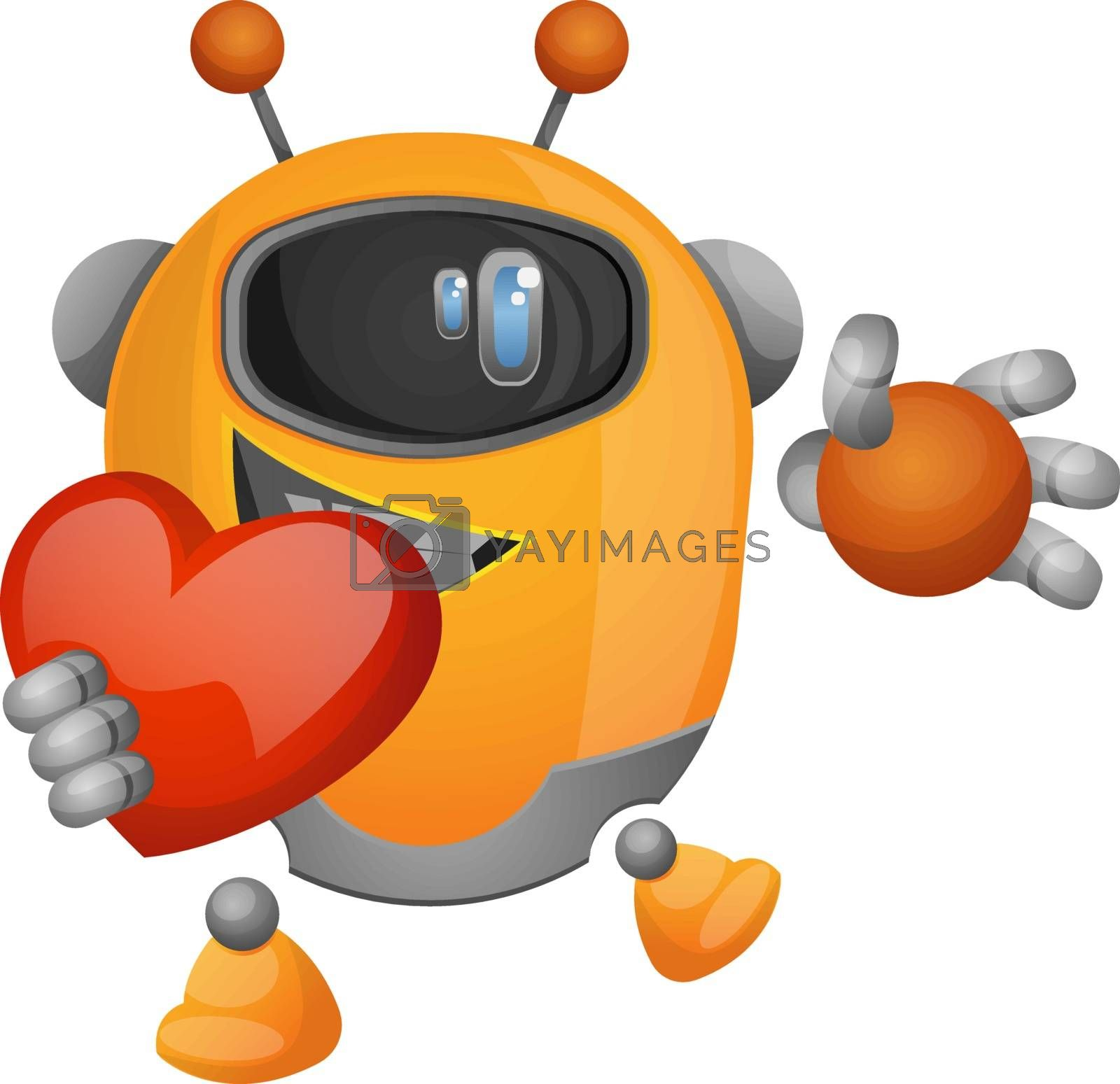 Royalty free image of Cartoon robot holding a heart illustration vector on white backg by Morphart