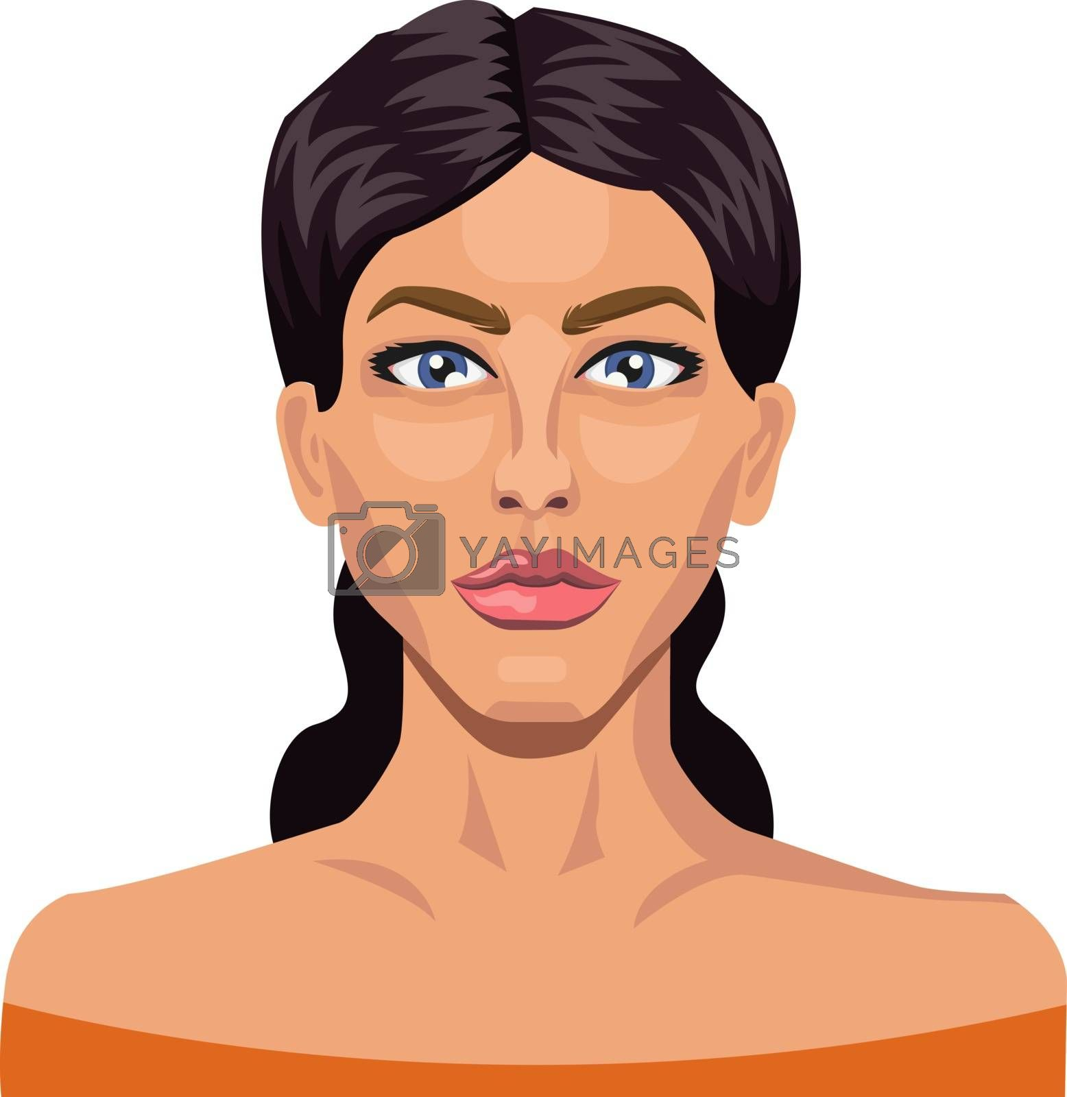 Royalty free image of Girl with blue eyes and black hair illustration vector on white  by Morphart