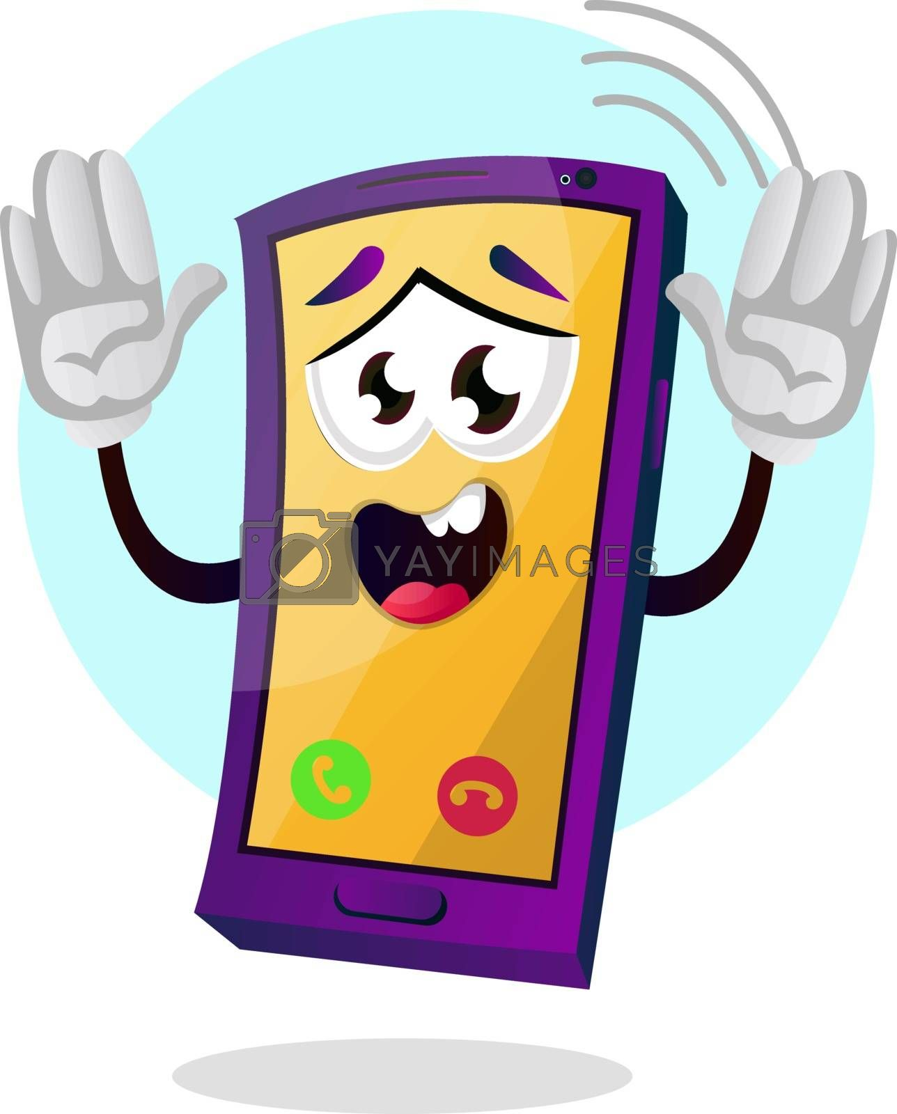 Royalty free image of Yellow mobile emoji with hands up illustration vector on white b by Morphart