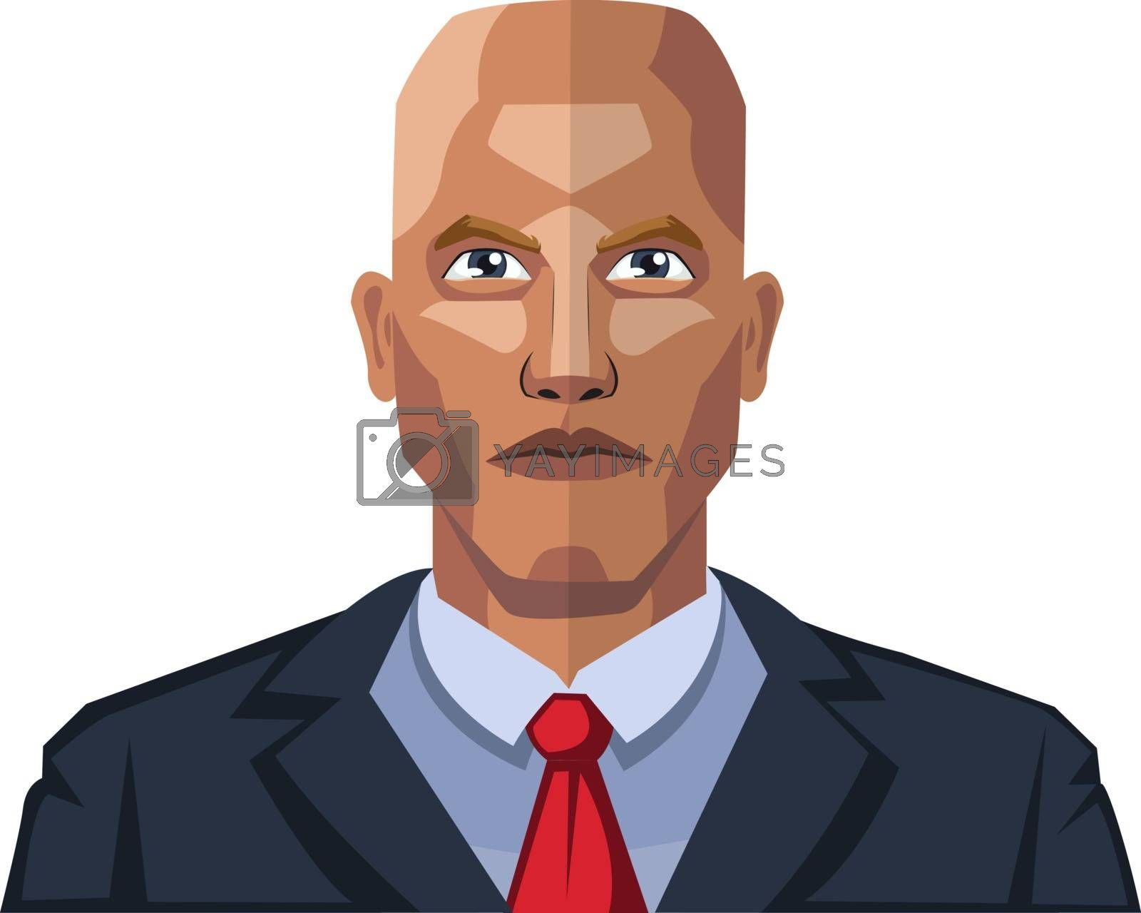 Royalty free image of Bald young guy wearing a suite illustration vector on white back by Morphart