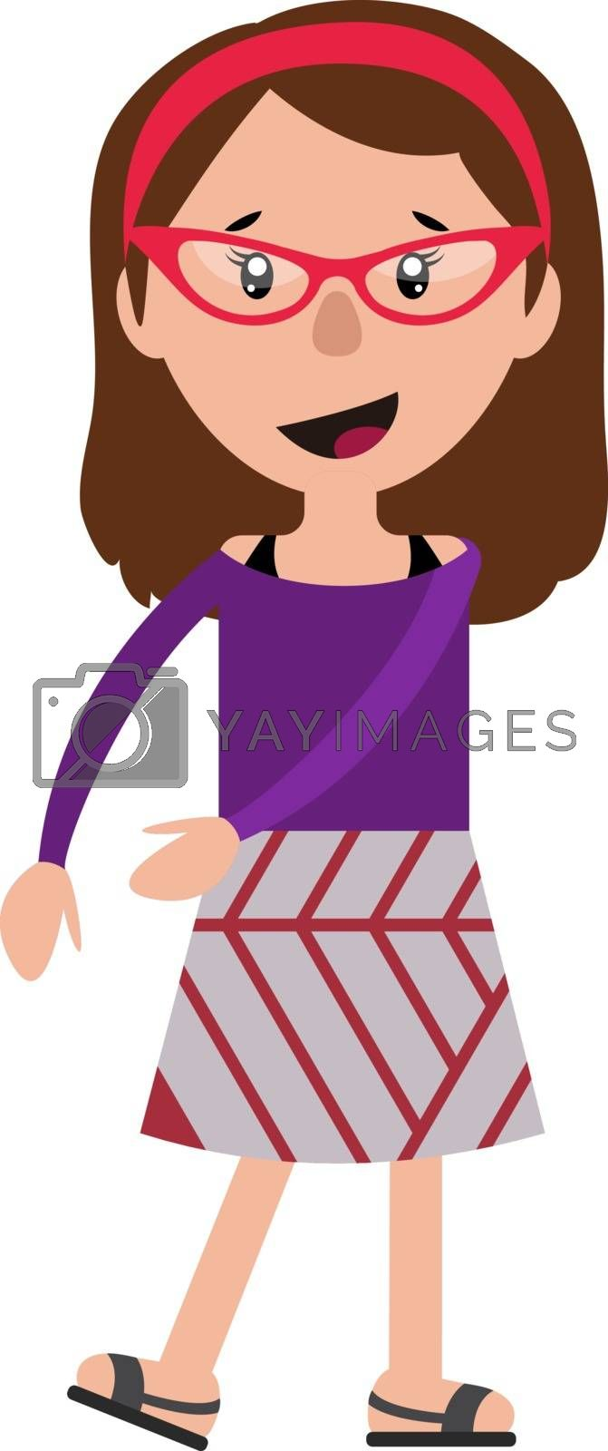 Royalty free image of Cheerful teenage dancing girl with a red glasses illustration ve by Morphart