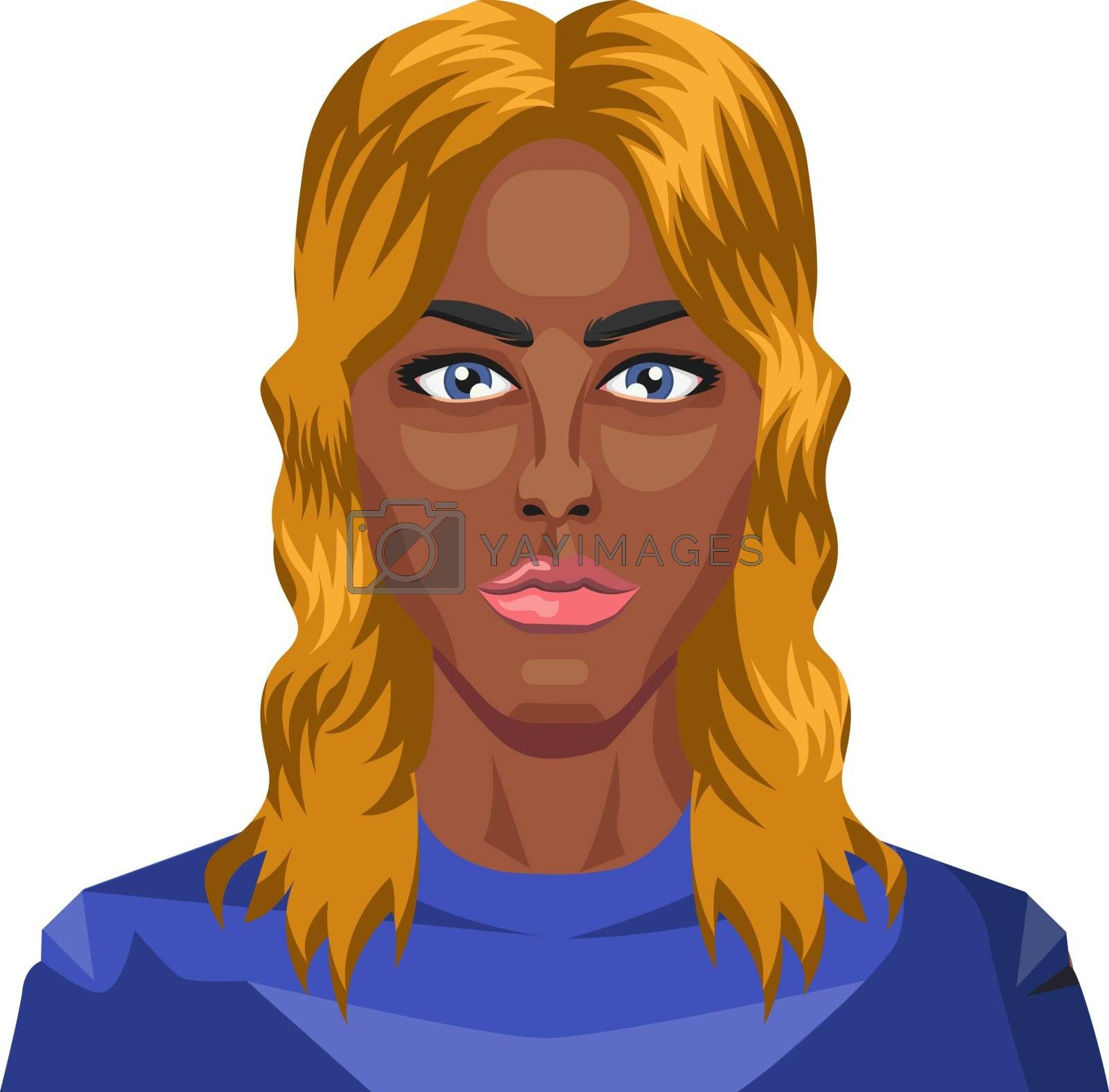 Royalty free image of Beautiful african girl with blonde hair illustration vector on w by Morphart