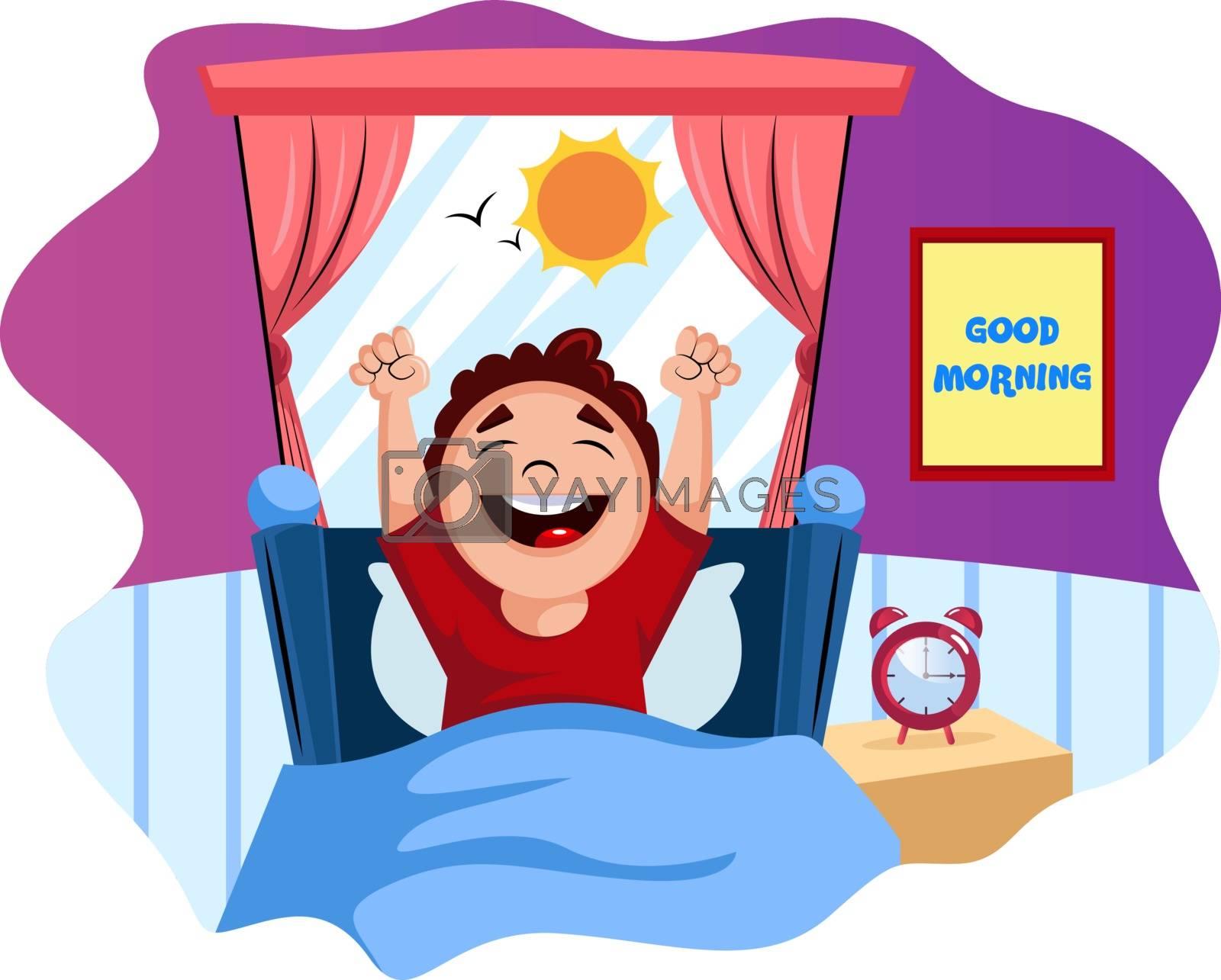 Royalty free image of Boy woke up happy illustration vector on white background by Morphart