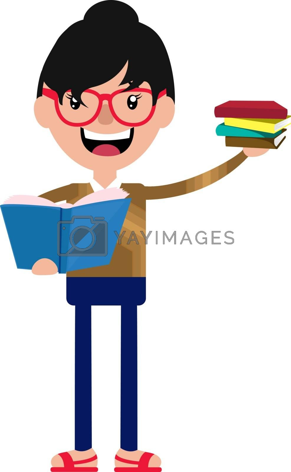 Royalty free image of Cheerful cartoon young woman holding some books illustration vec by Morphart