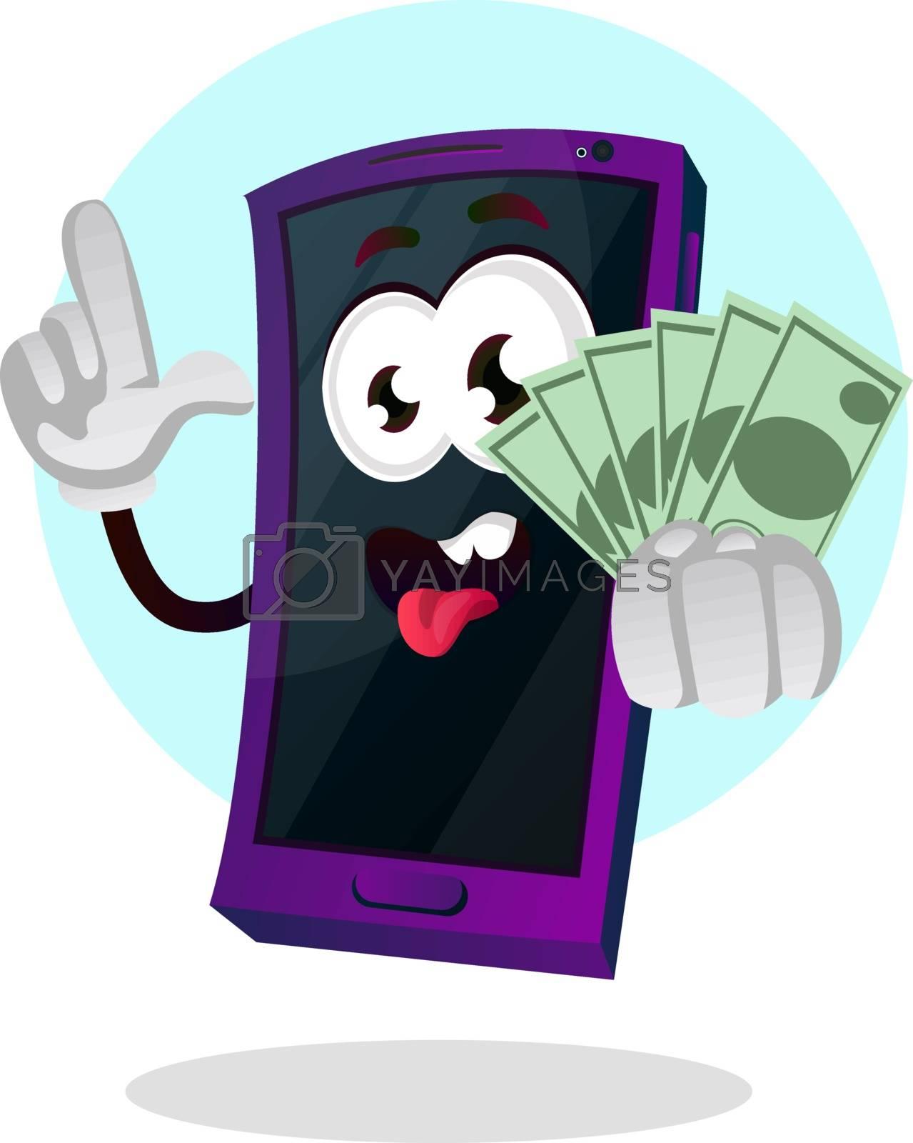 Royalty free image of Mobile phone emoji holding money illustration vector on white ba by Morphart