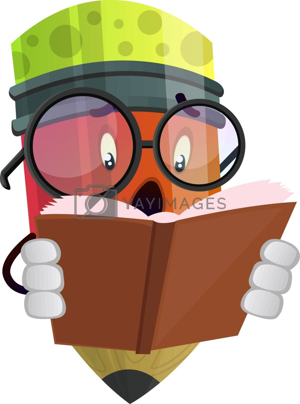Royalty free image of Scared pencil reading a book illustration vector on white backgr by Morphart