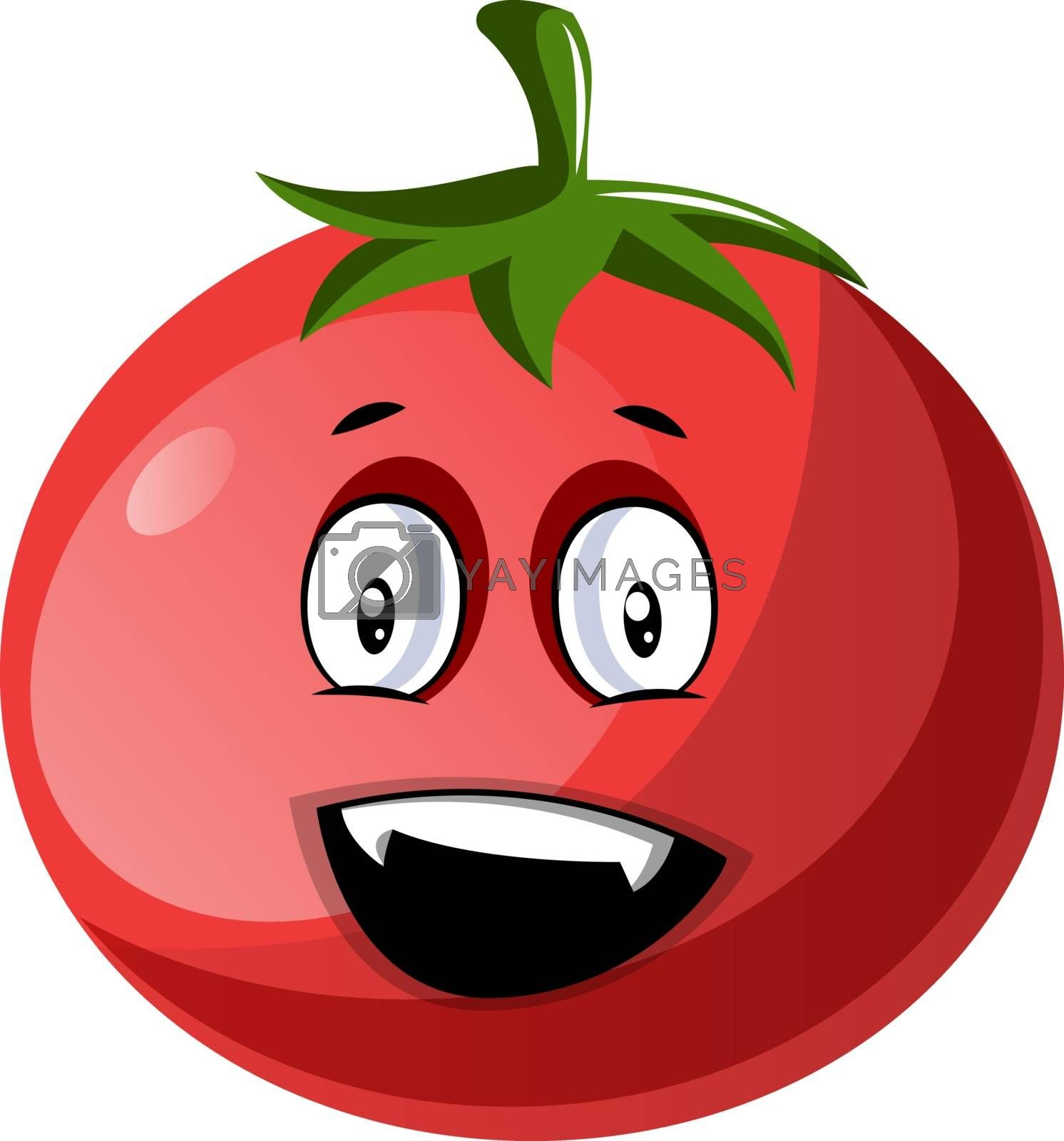 Royalty free image of Red tomato that looks very happy illustration vector on white ba by Morphart