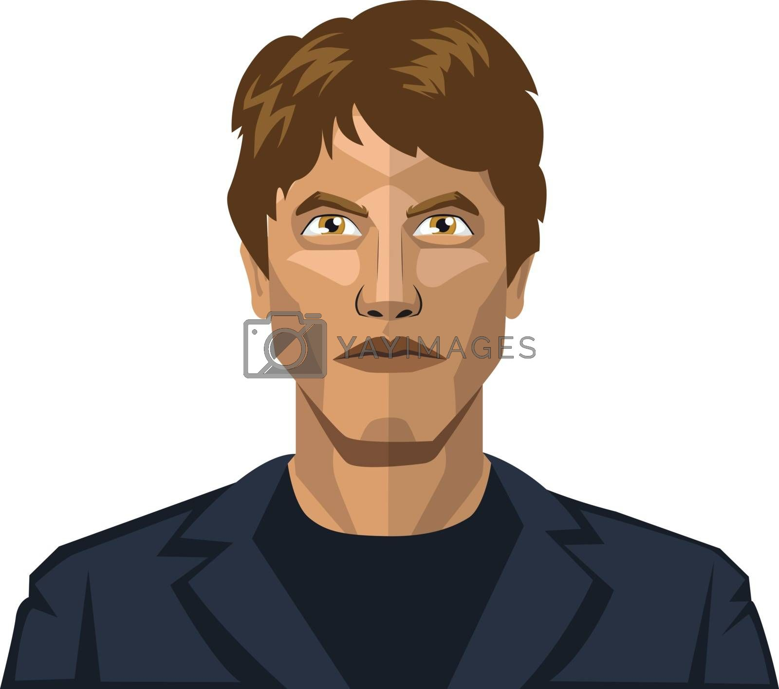 Royalty free image of Man with short brown hair illustration vector on white backgroun by Morphart
