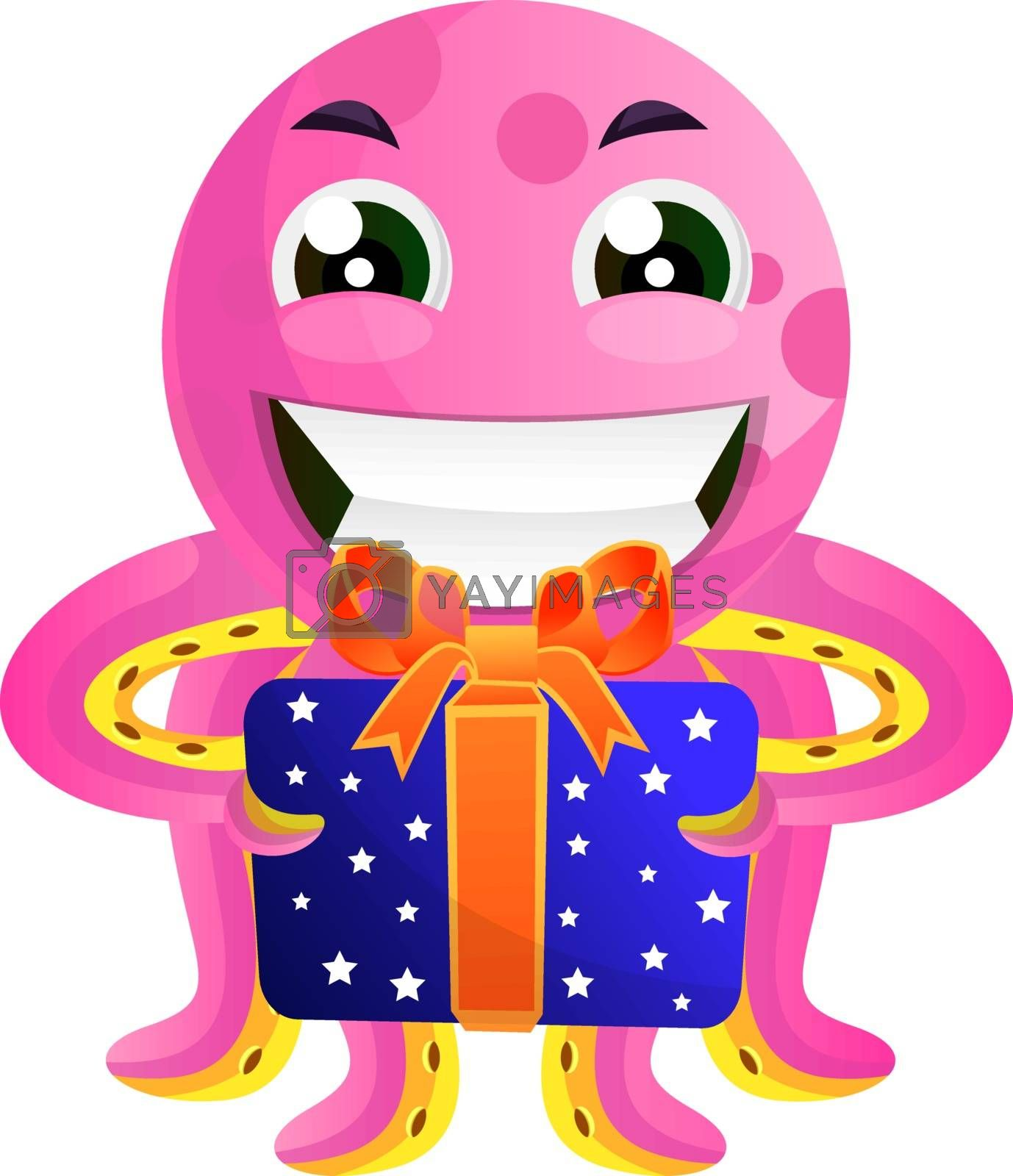 Royalty free image of Pink octopus with a present illustration vector on white backgro by Morphart