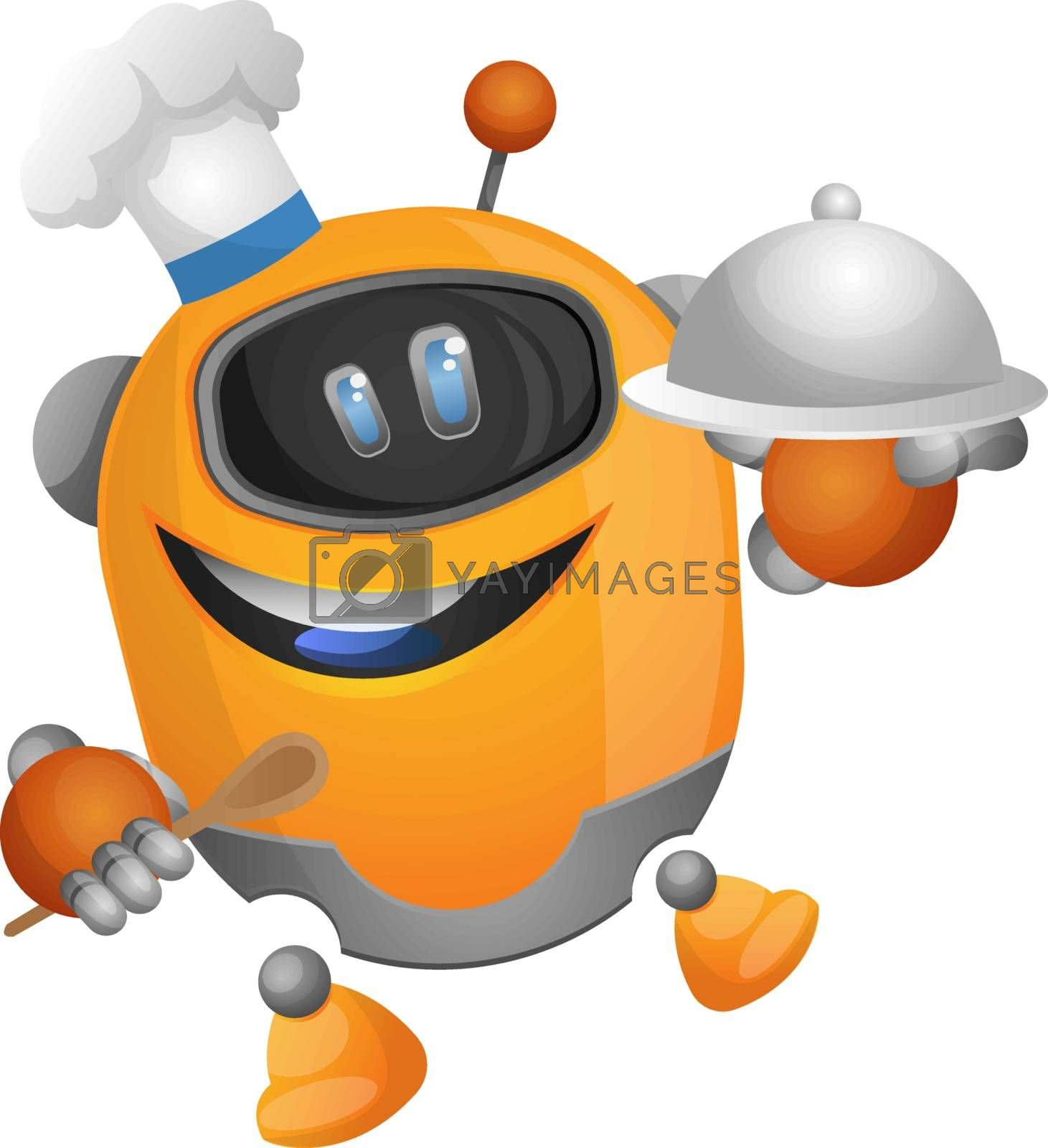 Royalty free image of Robotic chef illustration vector on white background by Morphart