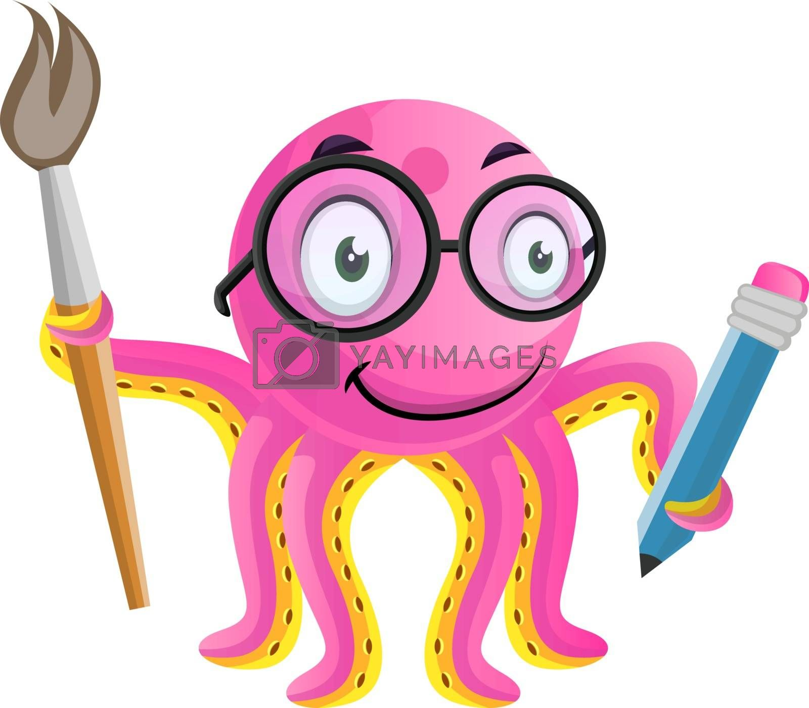 Royalty free image of Artistic octopus with pencil and brush in hand illustration vect by Morphart