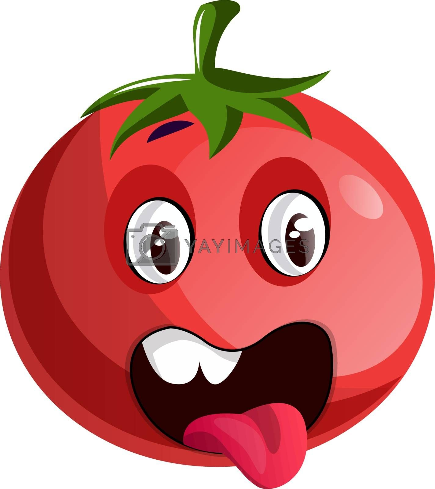 Royalty free image of Red tomato sticking his tongue out illustration vector on white  by Morphart