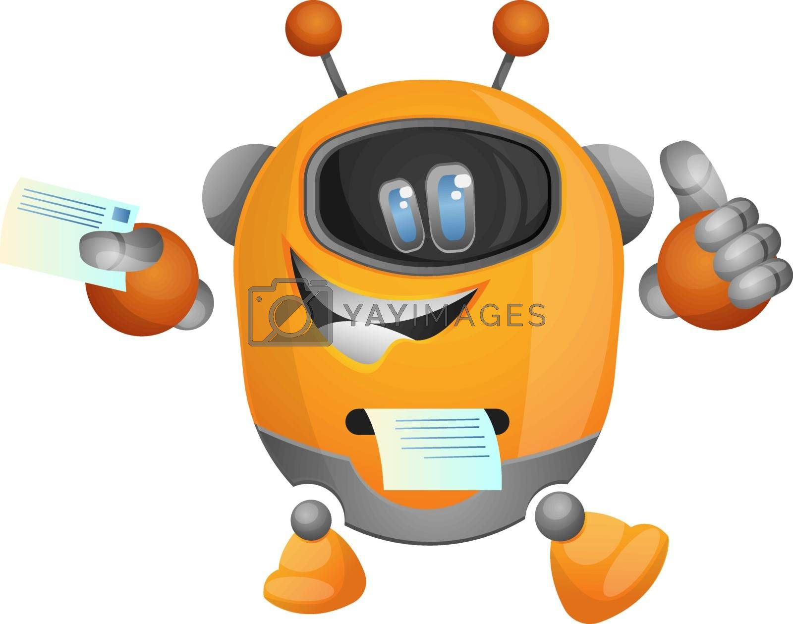 Royalty free image of Cartoon robot as a printer illustration vector on white backgrou by Morphart