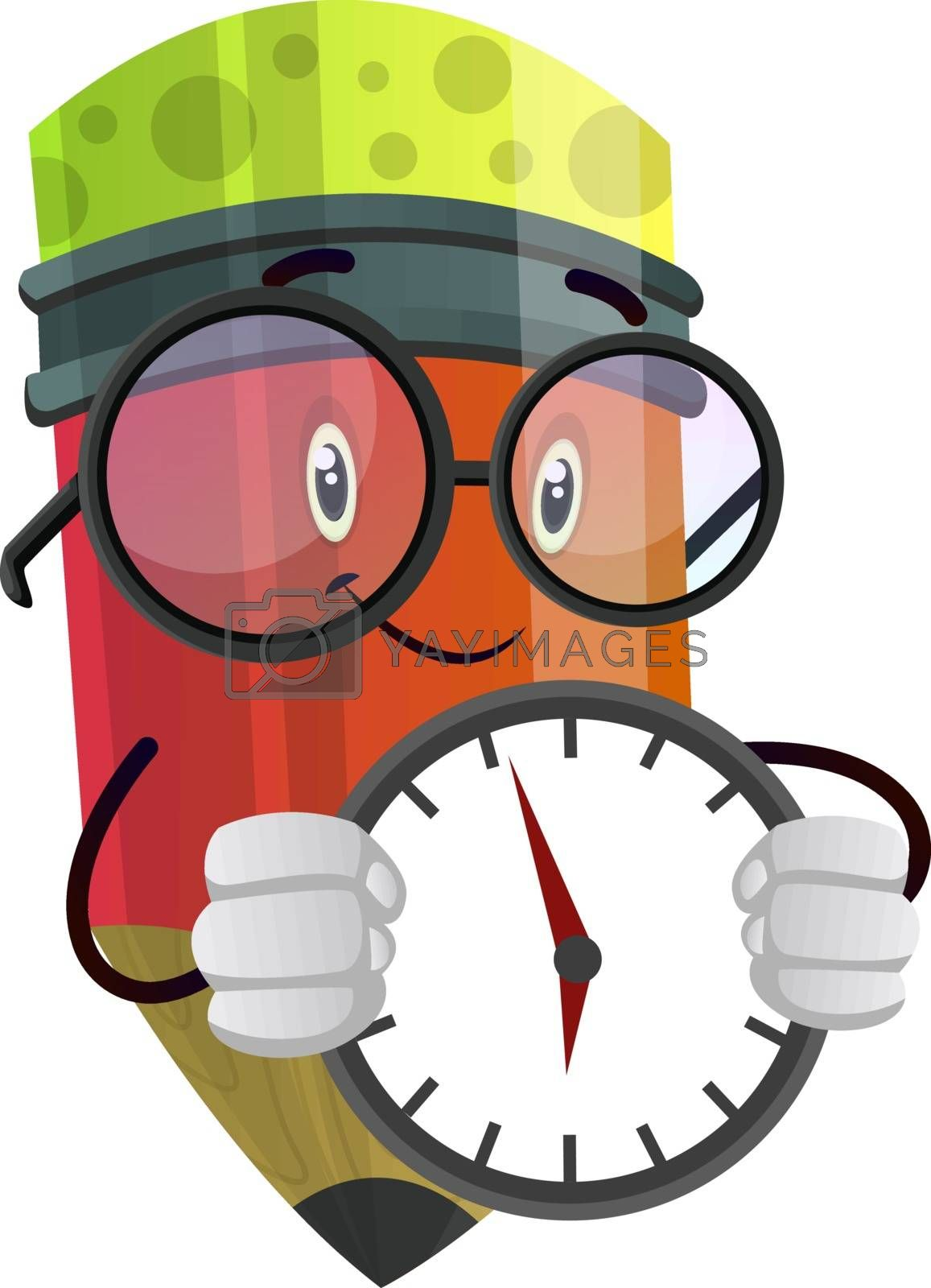 Royalty free image of Red pencil with a clock in his hands illustration vector on whit by Morphart