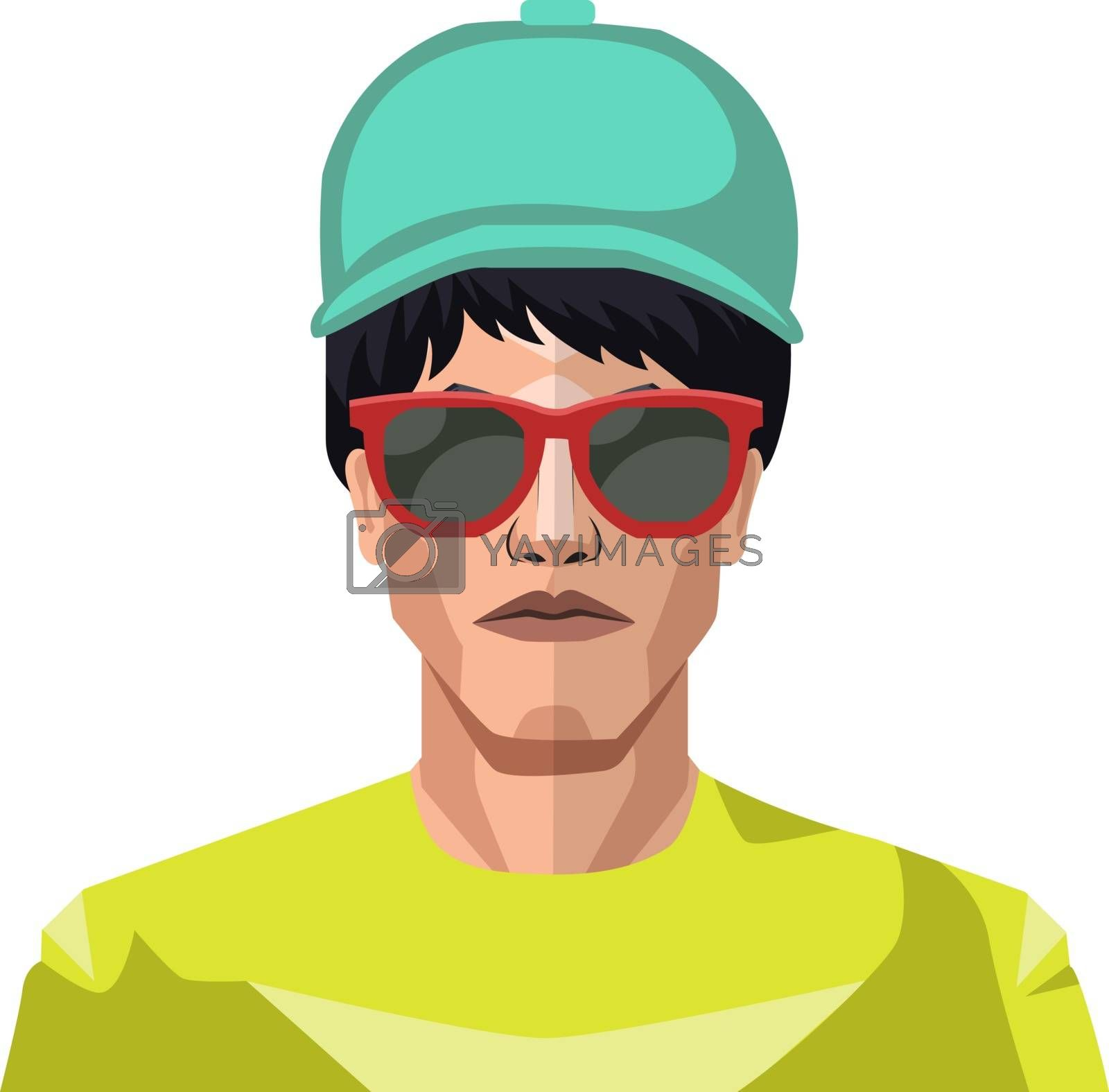 Royalty free image of Boy wearing a blue hat and sunglasses illustration vector on whi by Morphart