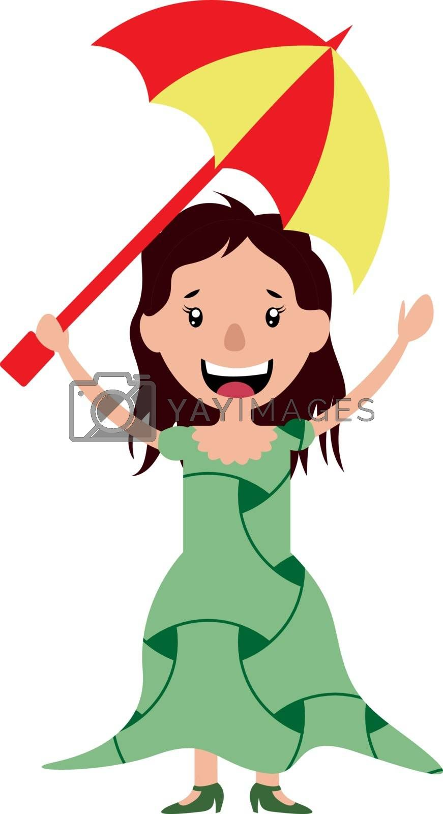Royalty free image of Young woman holding an umbrella illustration vector on white bac by Morphart