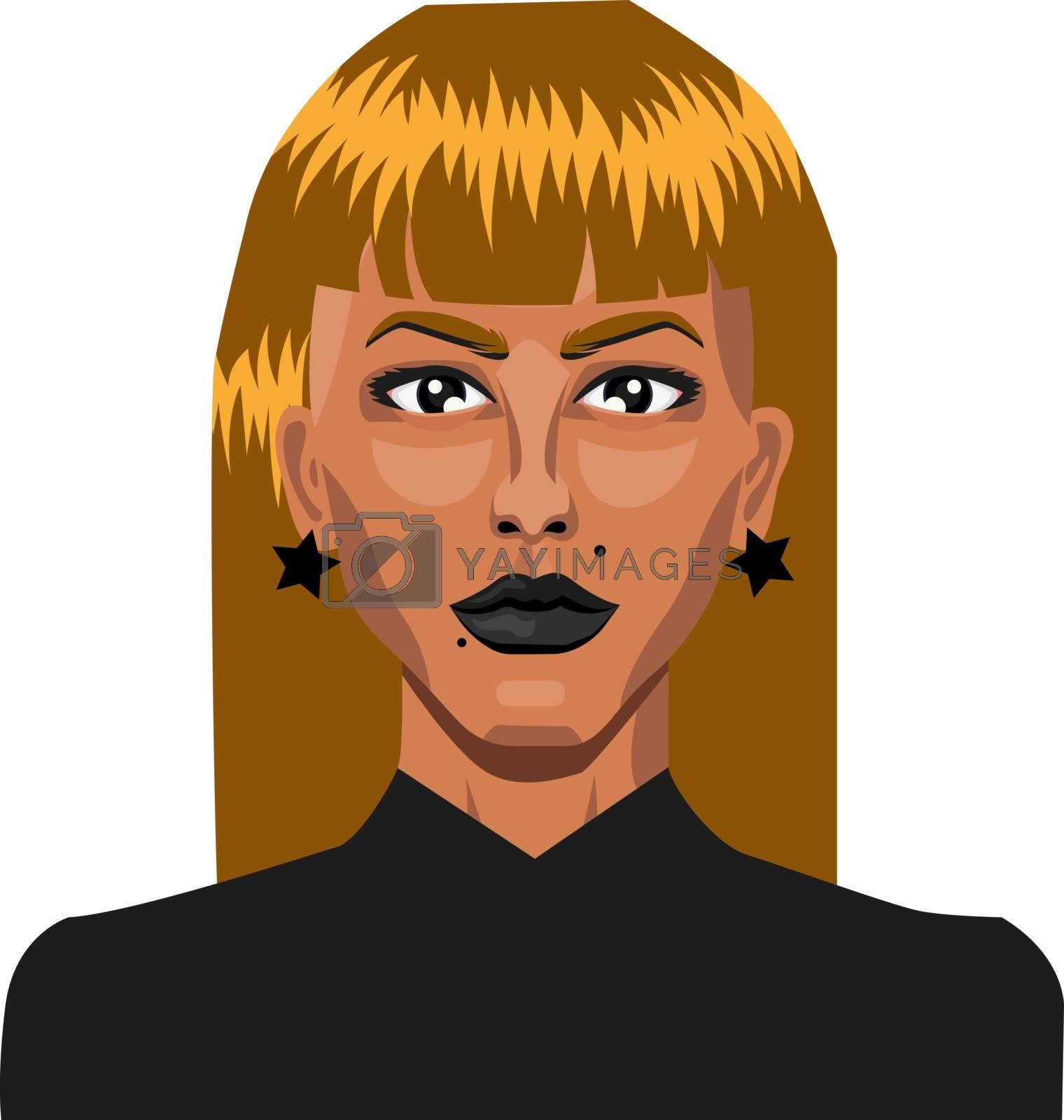 Royalty free image of Blonde girl wearing earings illustration vector on white backgro by Morphart