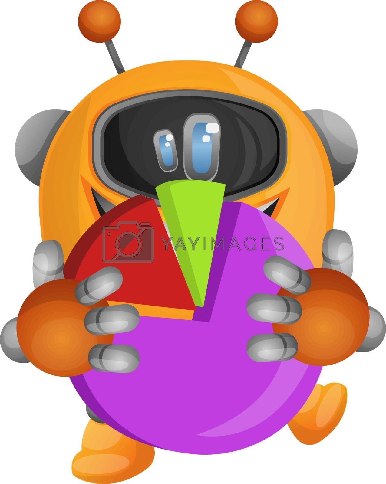 Royalty free image of Cartoon robot holding a pie chart illustration vector on white b by Morphart