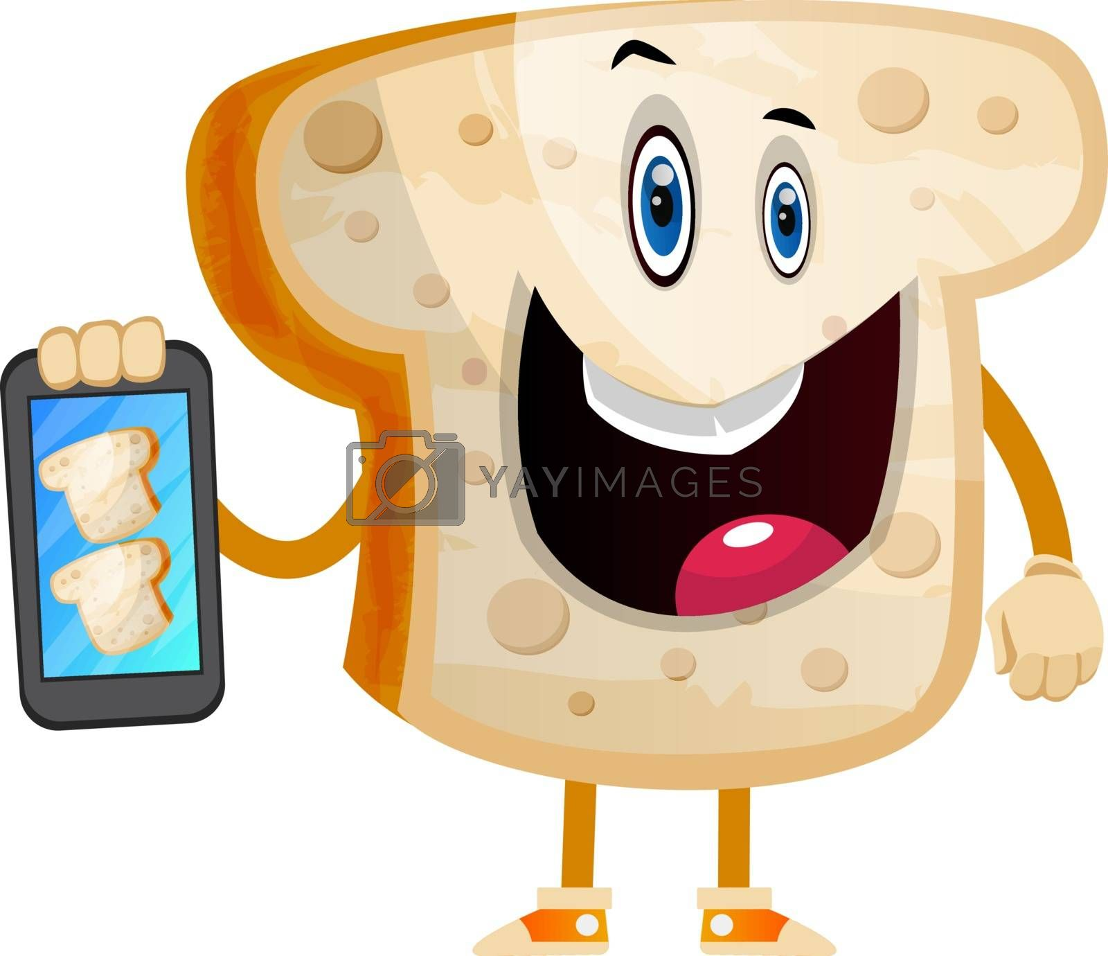 Royalty free image of Selfie Bread illustration vector on white background by Morphart