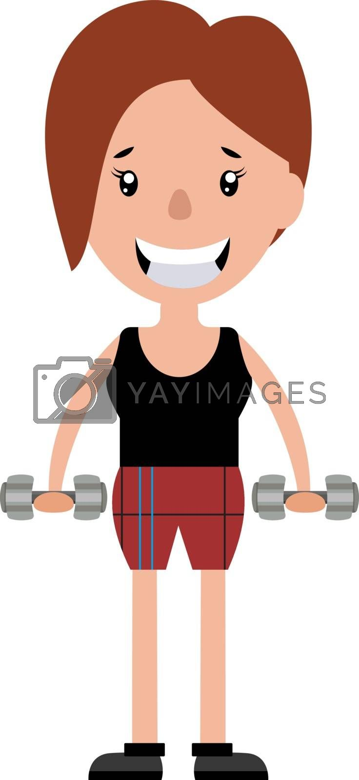 Royalty free image of Young woman working out with a set of weights illustration vecto by Morphart