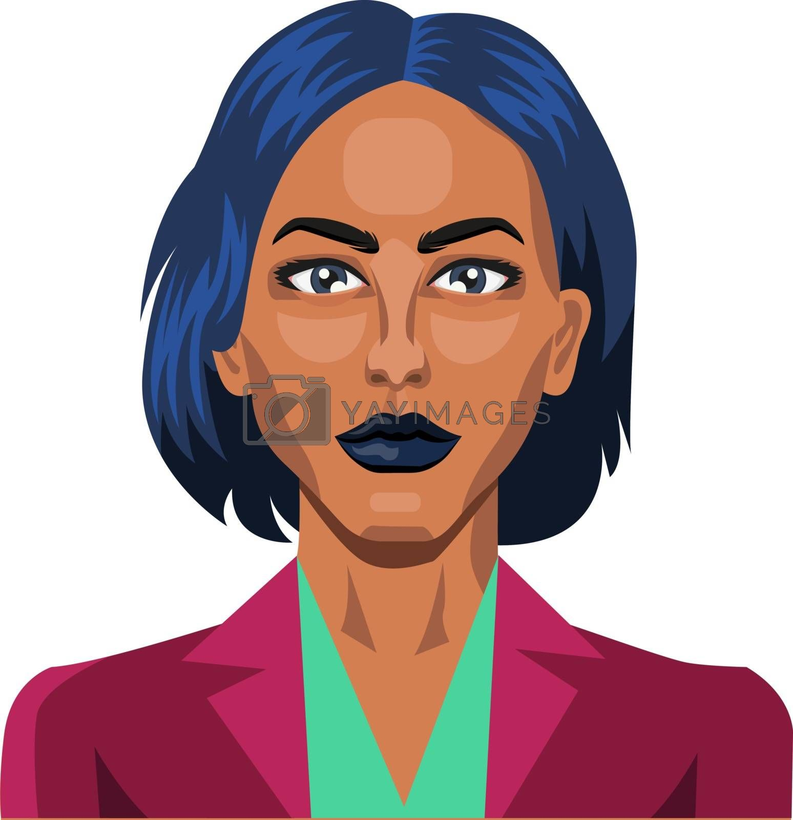 Royalty free image of Pretty girl with short blue hair illustration vector on white ba by Morphart