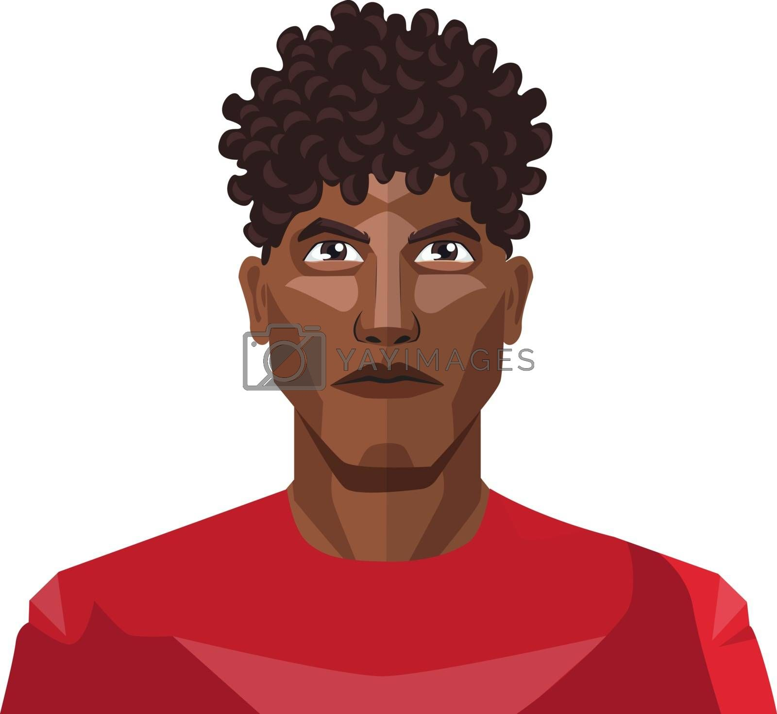 Royalty free image of Pretty guy wearing a red shirt and curly hair illustration vecto by Morphart