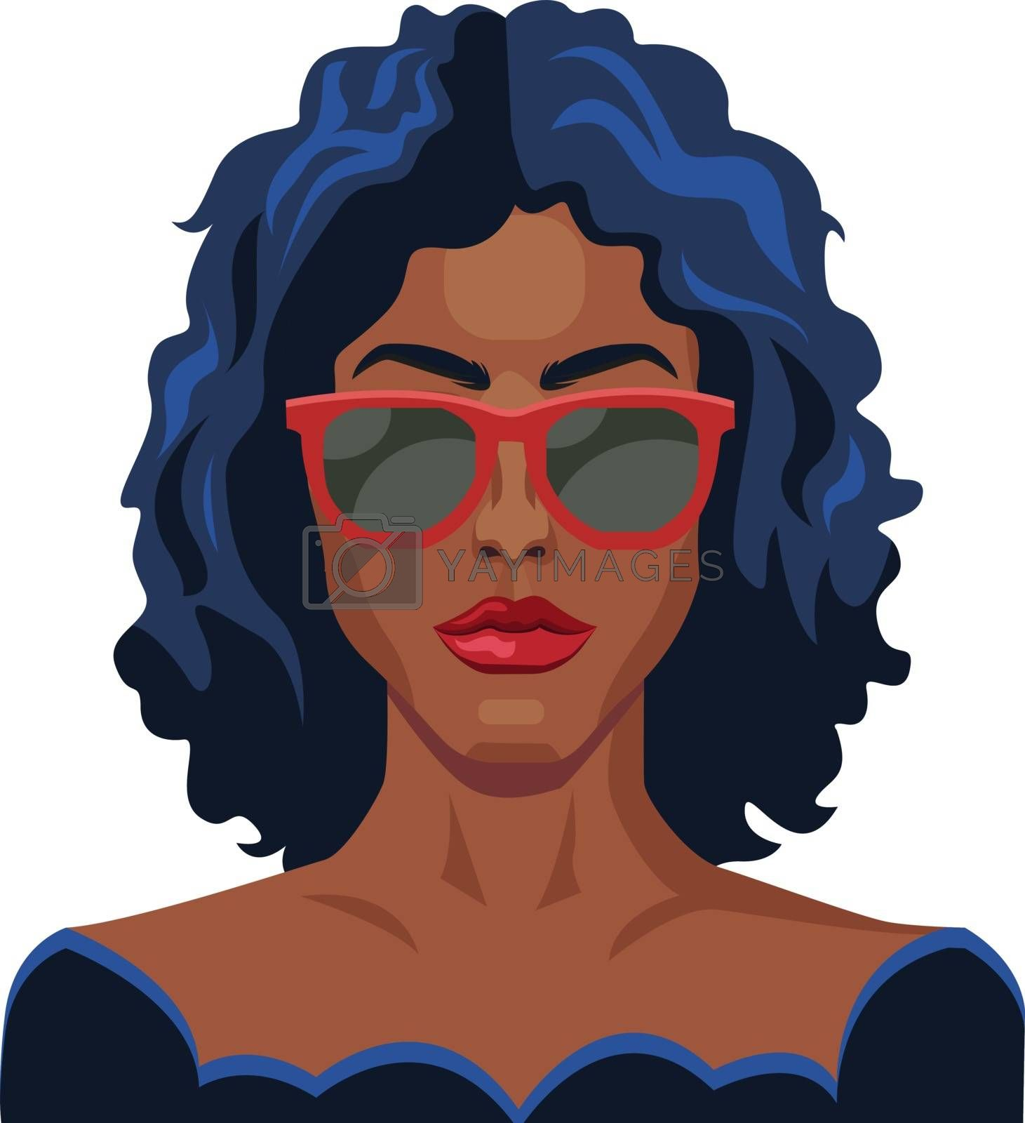 Royalty free image of Pretty girl with blue hair and glasses illustration vector on wh by Morphart