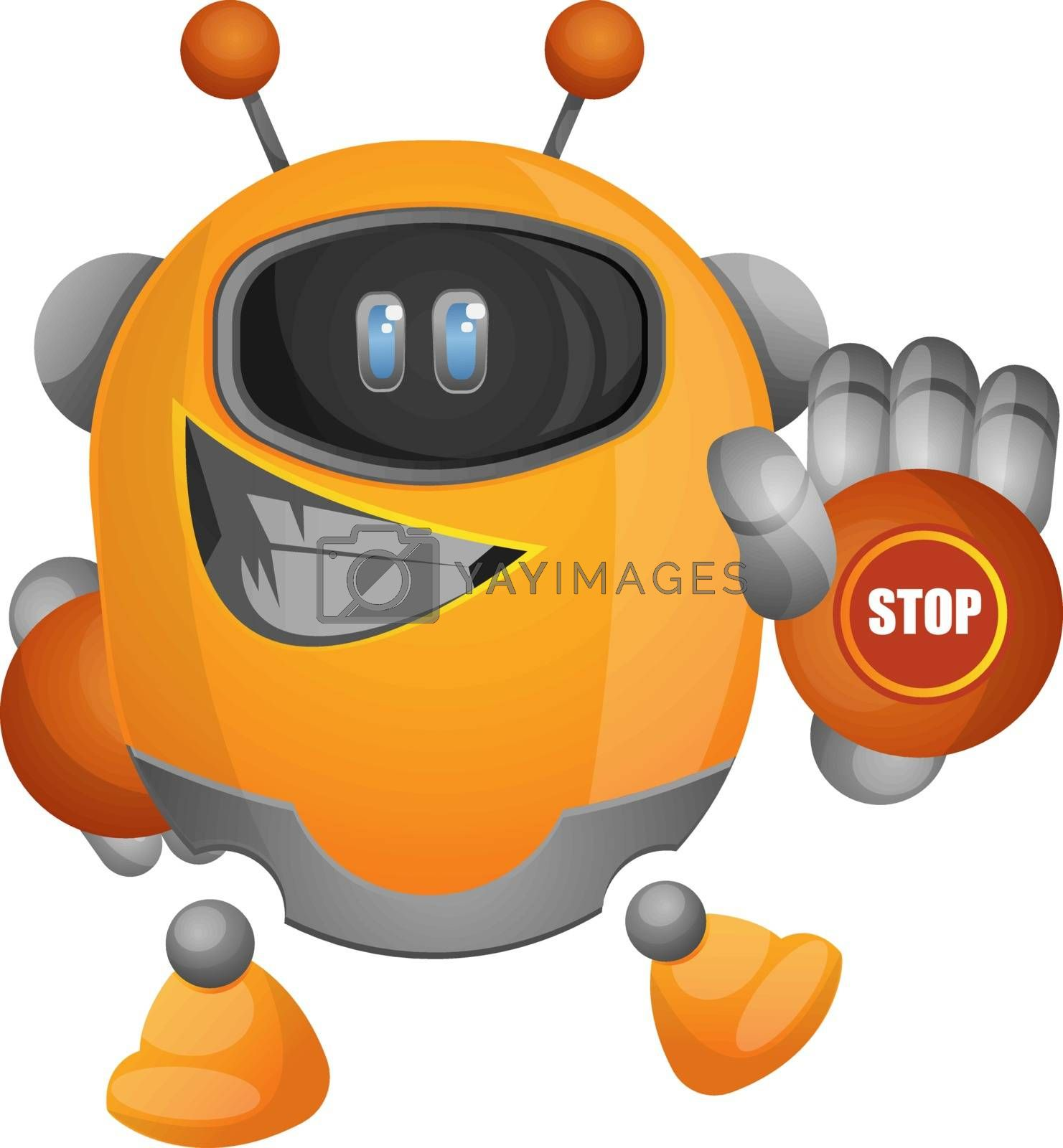 Royalty free image of Cartoon robot with a stop sign on hand illustration vector on wh by Morphart