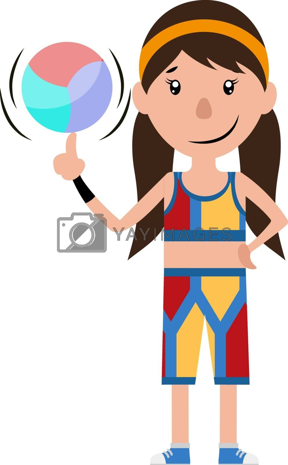 Royalty free image of Cartoon girl spinning a ball on her finger illustration vector o by Morphart