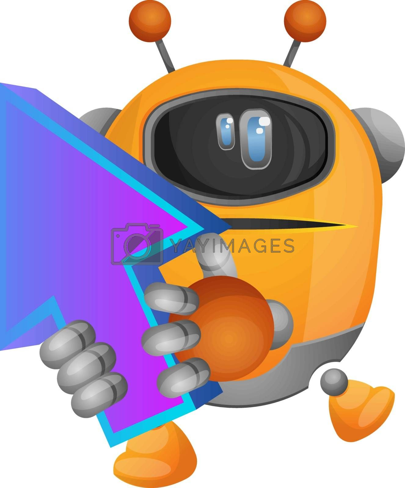 Royalty free image of Cartoon robot holding arrow up illustration vector on white back by Morphart