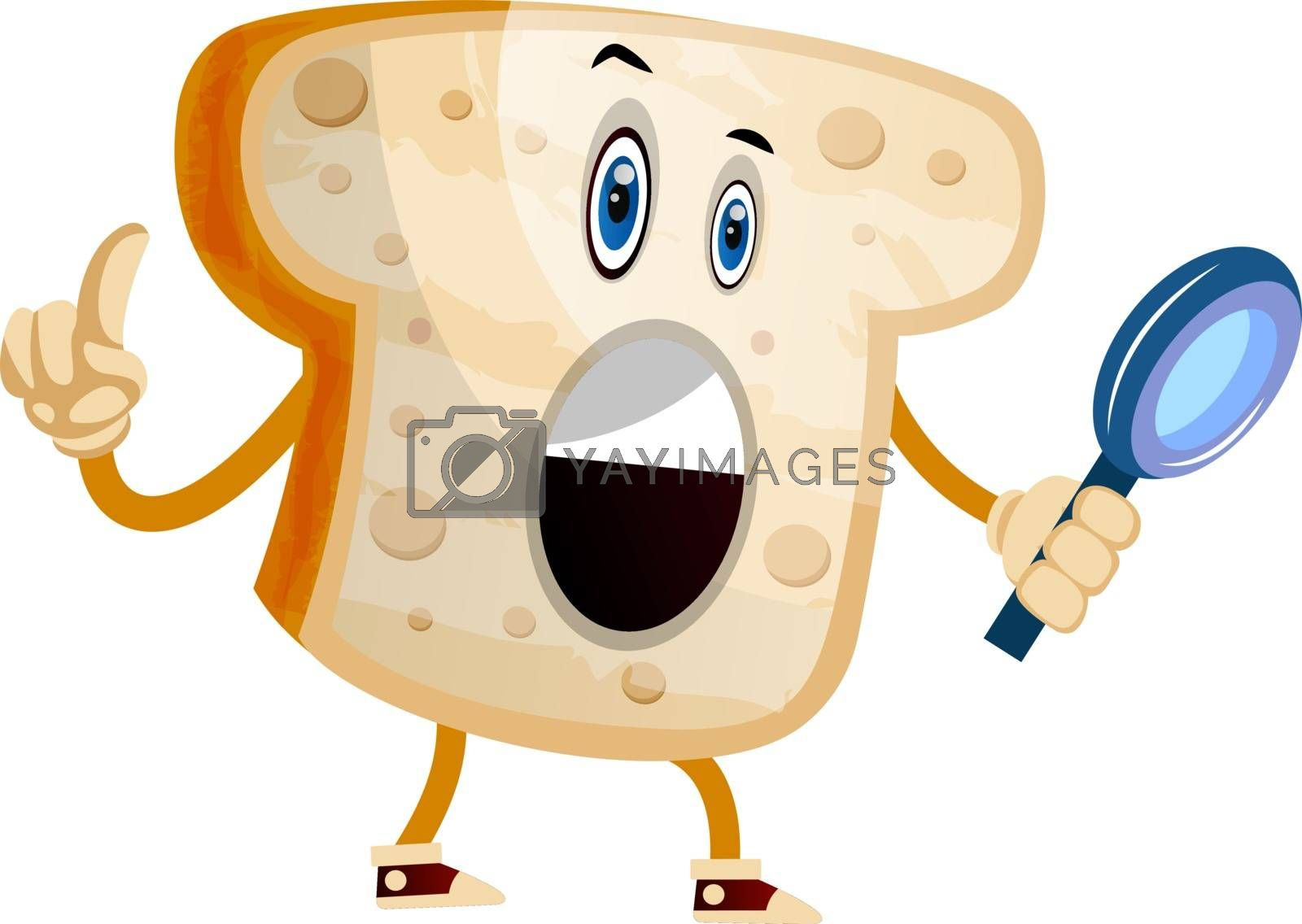 Royalty free image of Bread with magnifying glass illustration vector on white backgro by Morphart