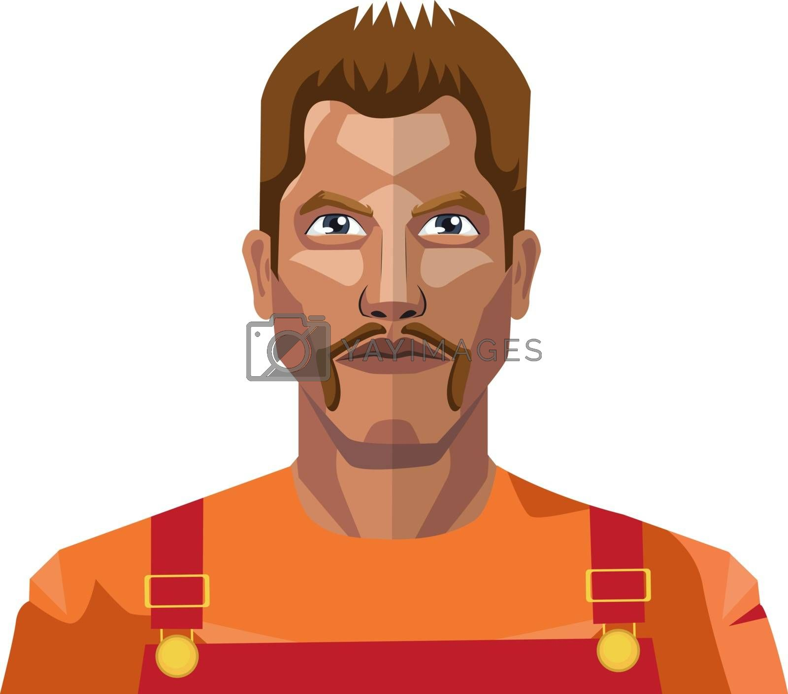 Royalty free image of Worker with mustaches illustration vector on white background by Morphart